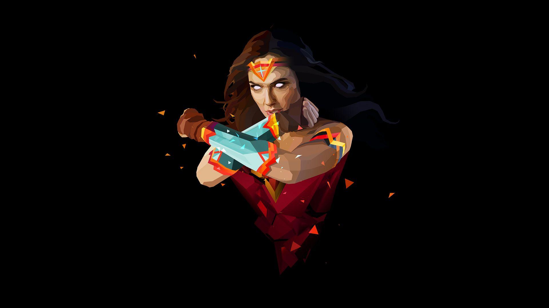Wallpaper Wonder woman, digital artwork, superhero, abstract, art