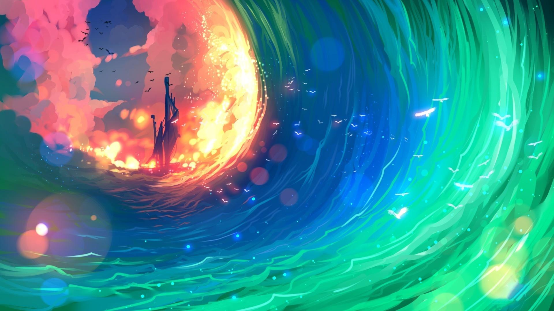 Desktop Wallpaper Ship, Colorful, Sea Waves, Anime, Art ...