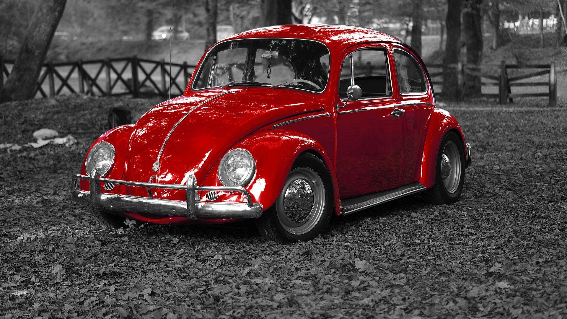Wallpaper Volkswagen, Beetle red car