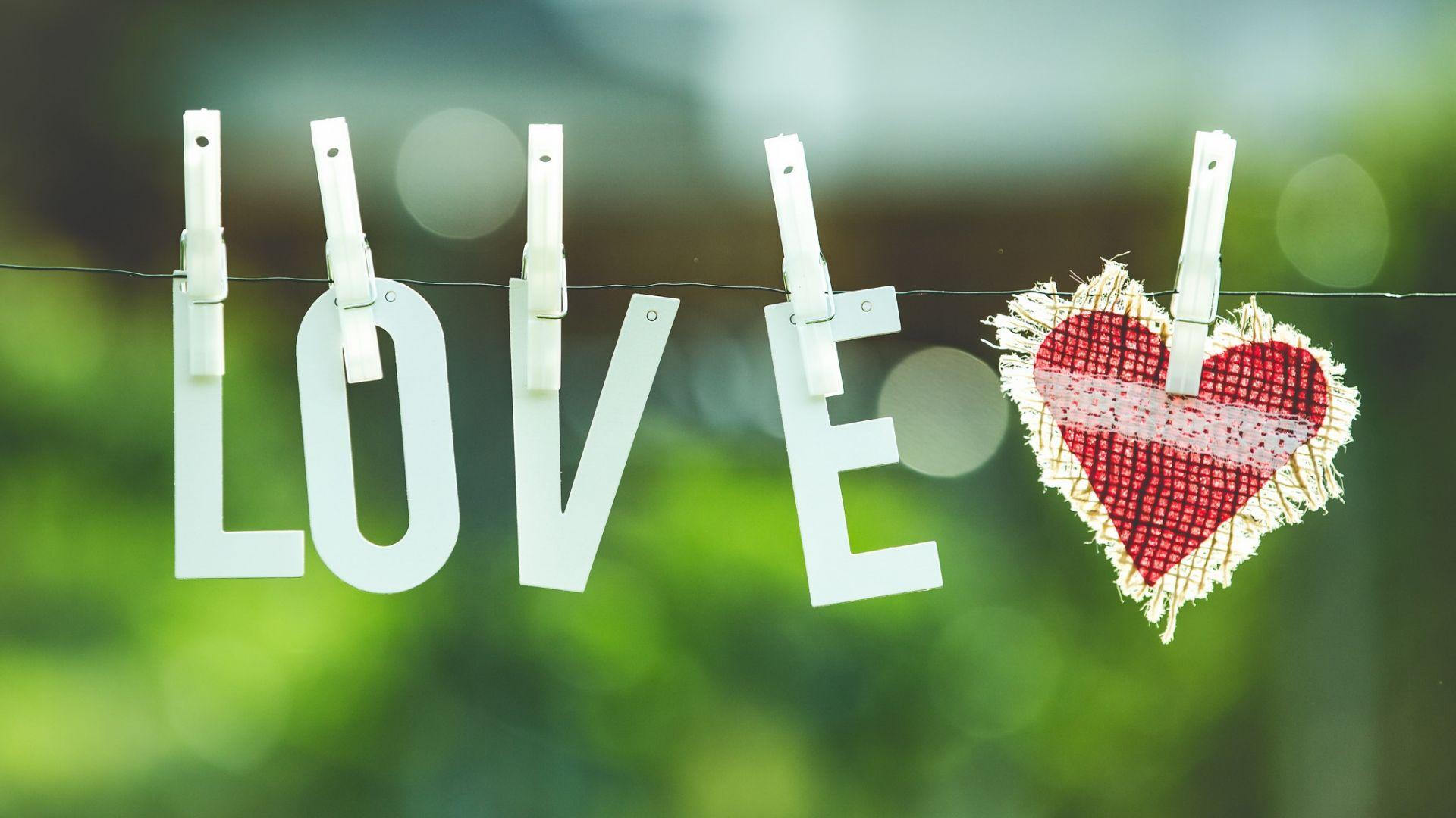Wallpaper Love, heart, typography, bokeh
