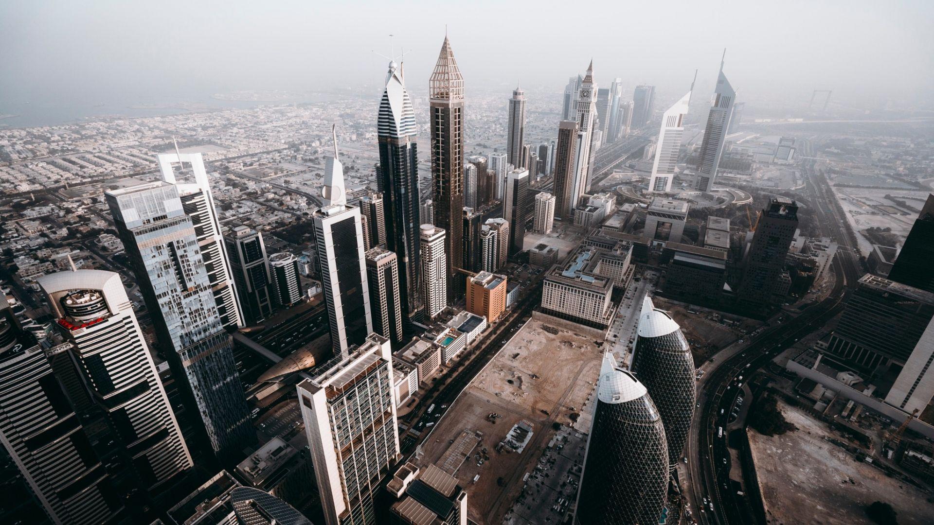 Wallpaper Dubai, city, aerial view, skyscrapers, buildings