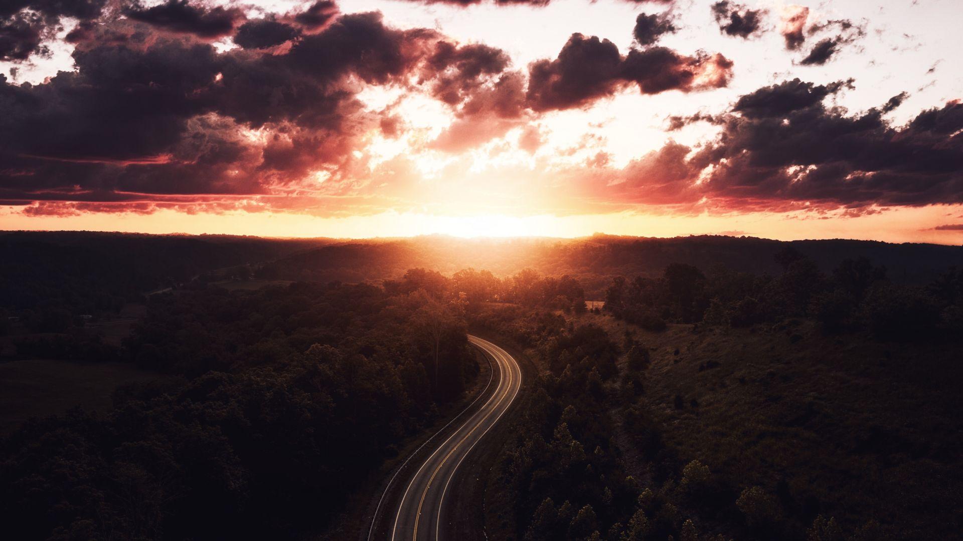 Wallpaper Dawn, aerial view, road, highway, 4k