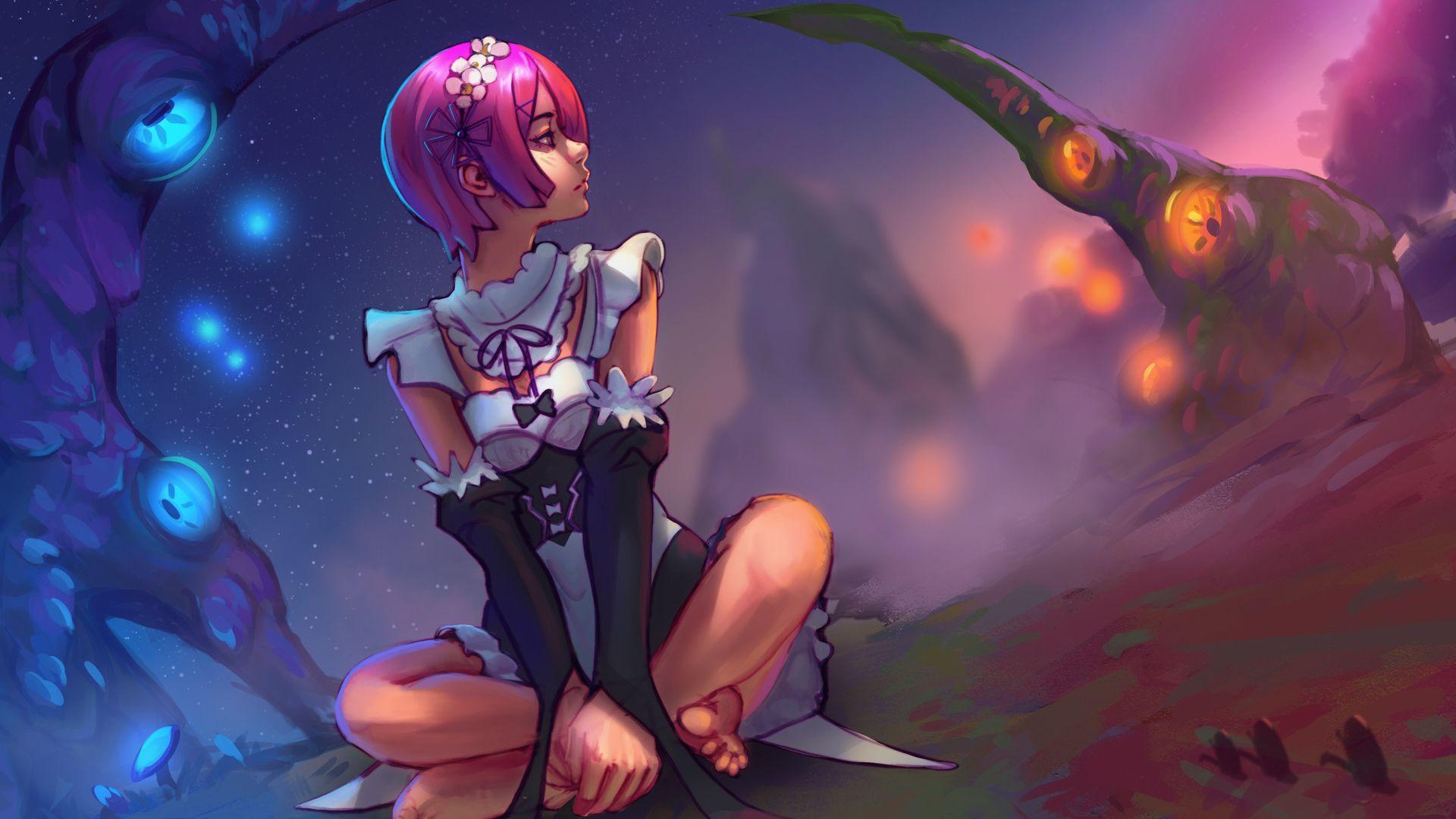 Desktop Wallpaper Rem Re Zero Sit Anime Girl Short Hair
