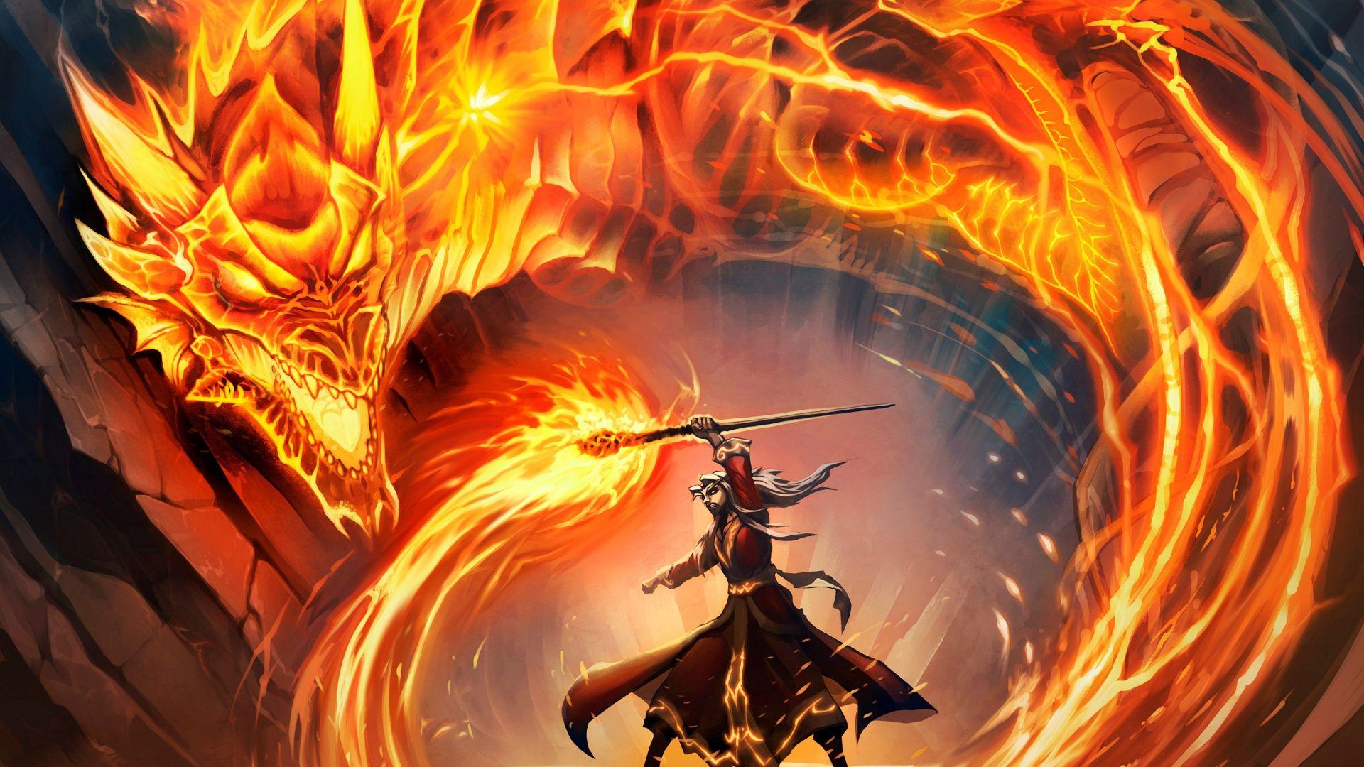 Wallpaper Hearthstone, Hearthstone: Heroes of Warcraft online game, warrior, dragon