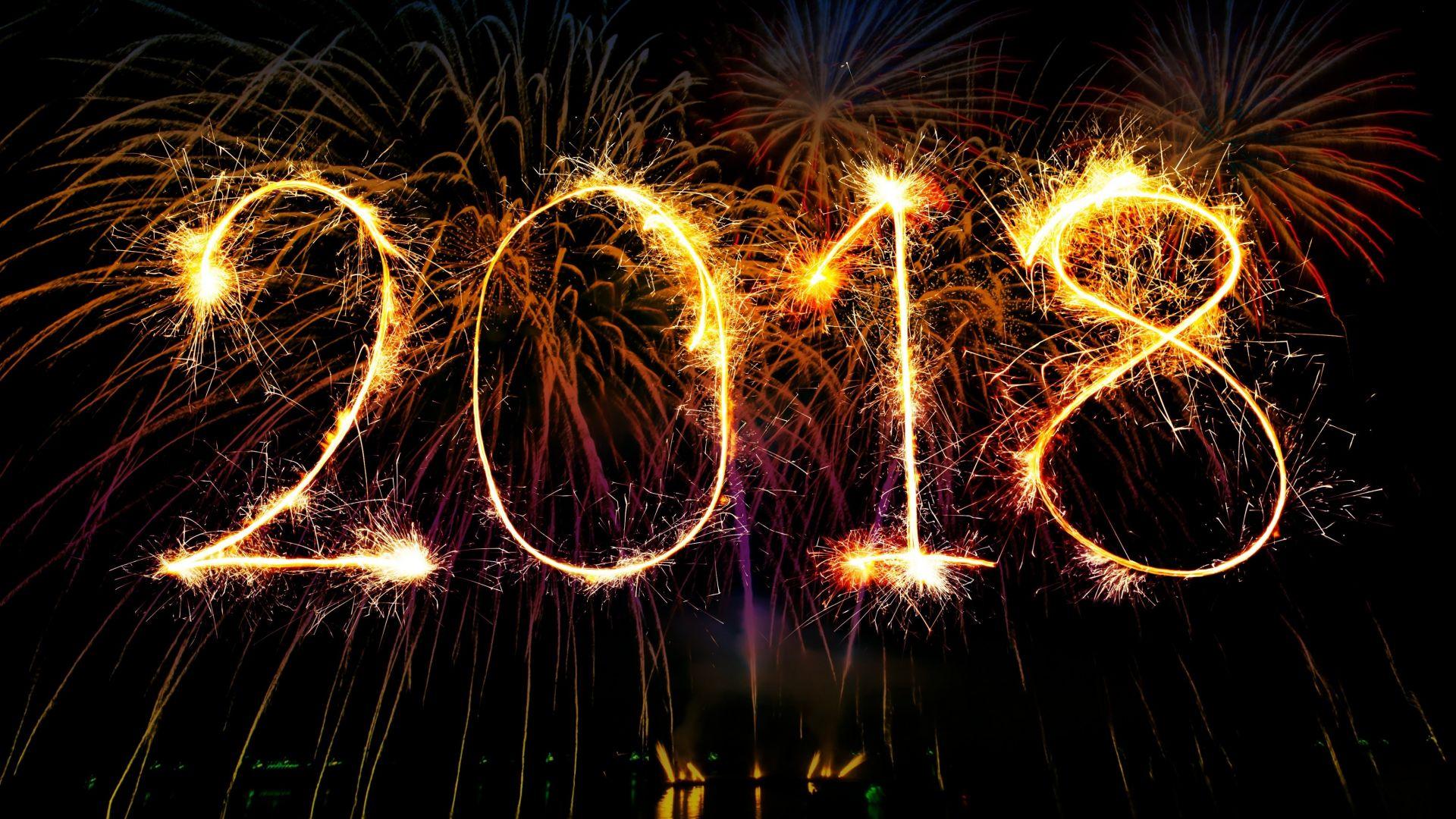 Wallpaper 2018, fireworks, celebrations, typography, happy new year, 4k