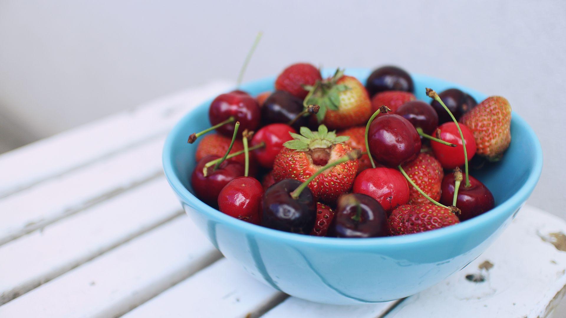 Berries Strawberry Cherry Black Wallpaper