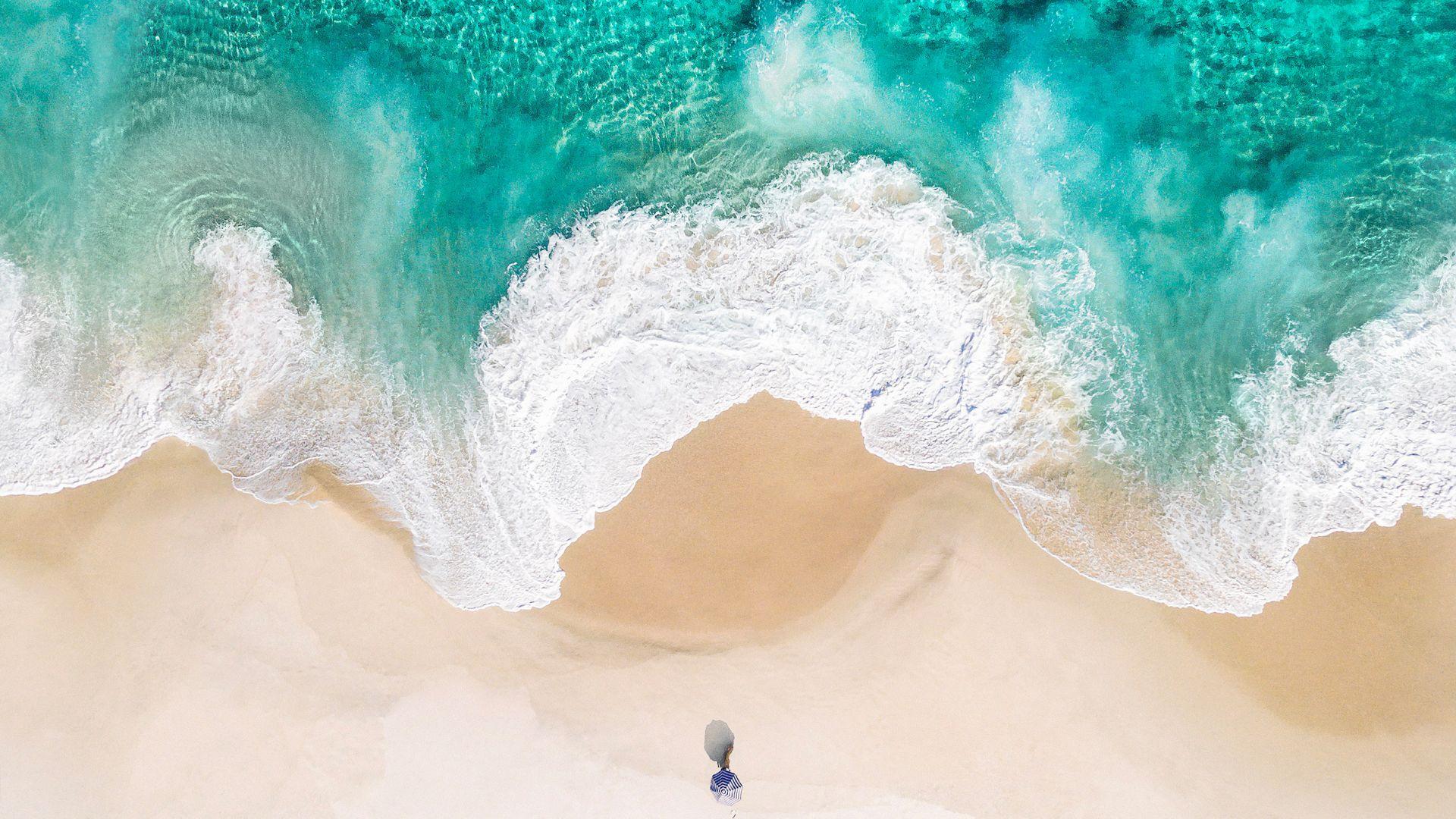 Wallpaper Beach, soft sea waves, aerial view