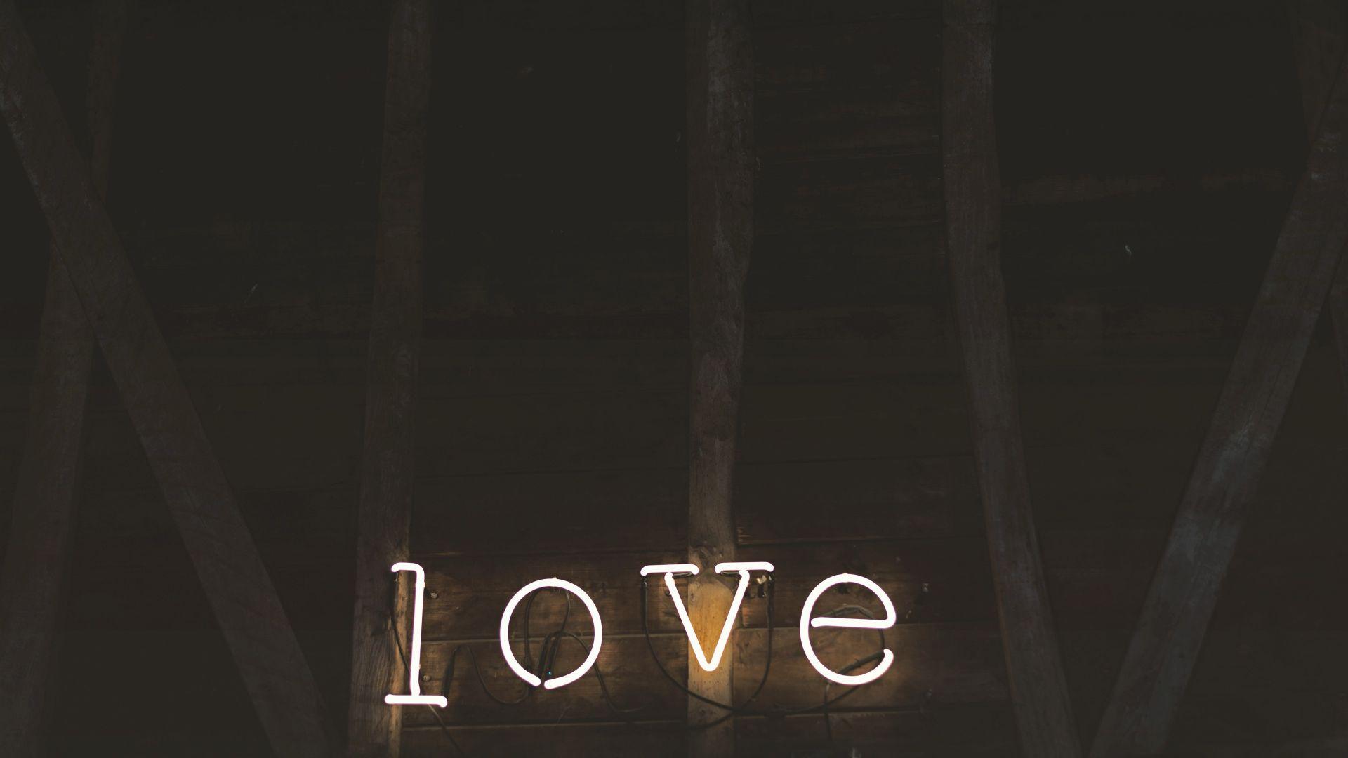 Wallpaper Love sign board, lights