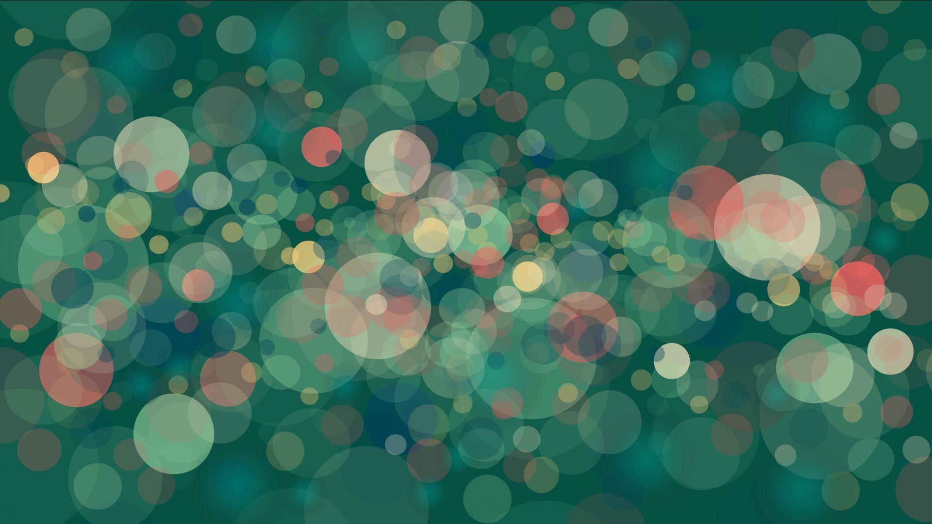 Wallpaper Bokeh, circles, abstract, green background