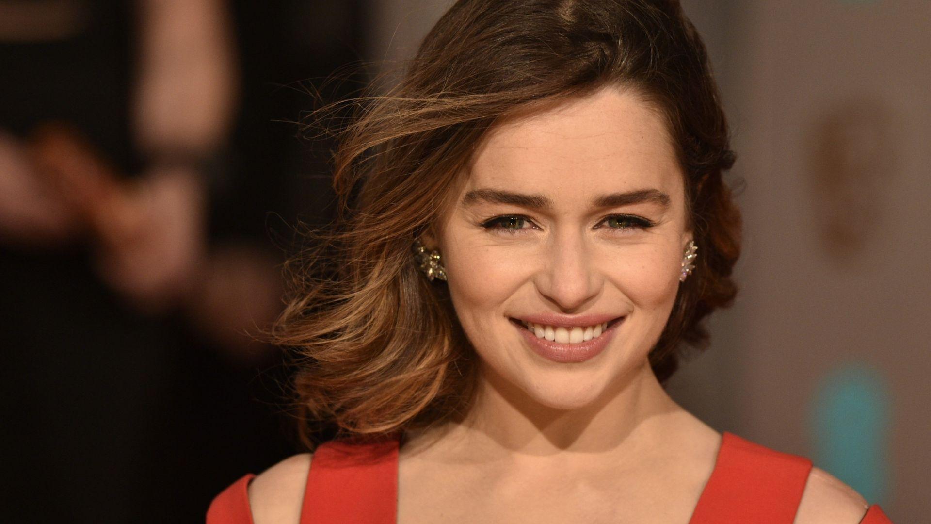 Wallpaper Emilia clarke, smiling, cute actress, 4k