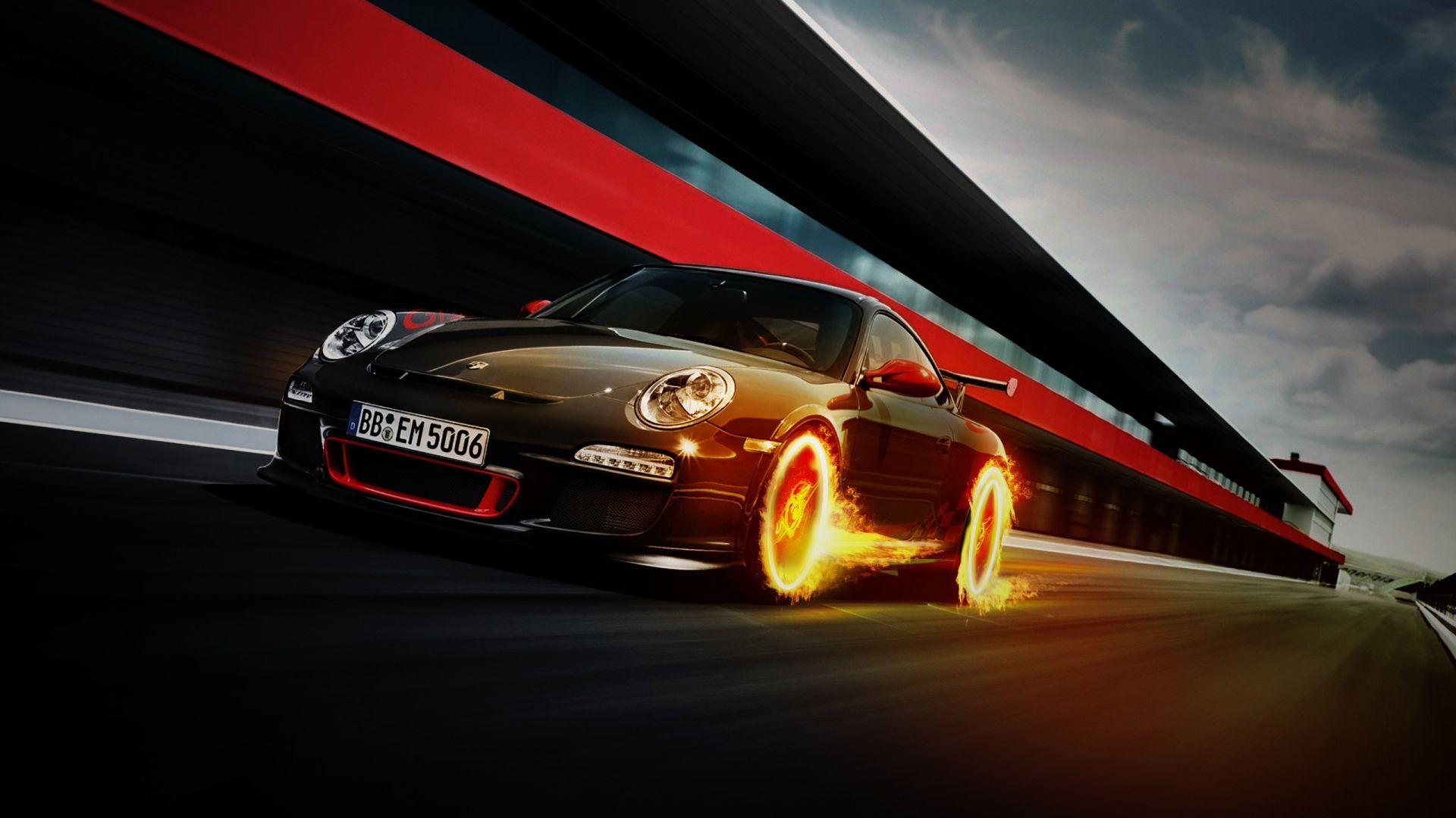 Porsche 911 GT3 RS, Black, Wheel On Fire