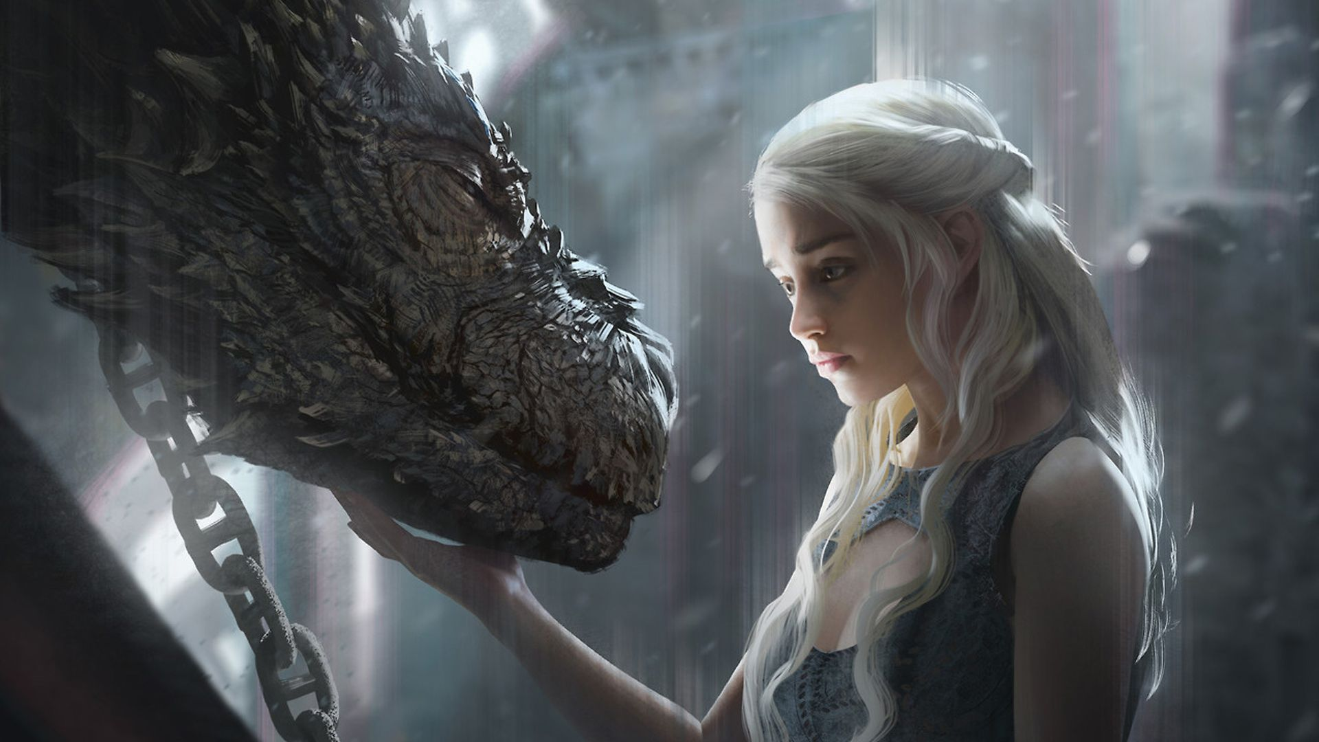 Wallpaper Daenerys Targaryen, dragon, game of thrones, artwork