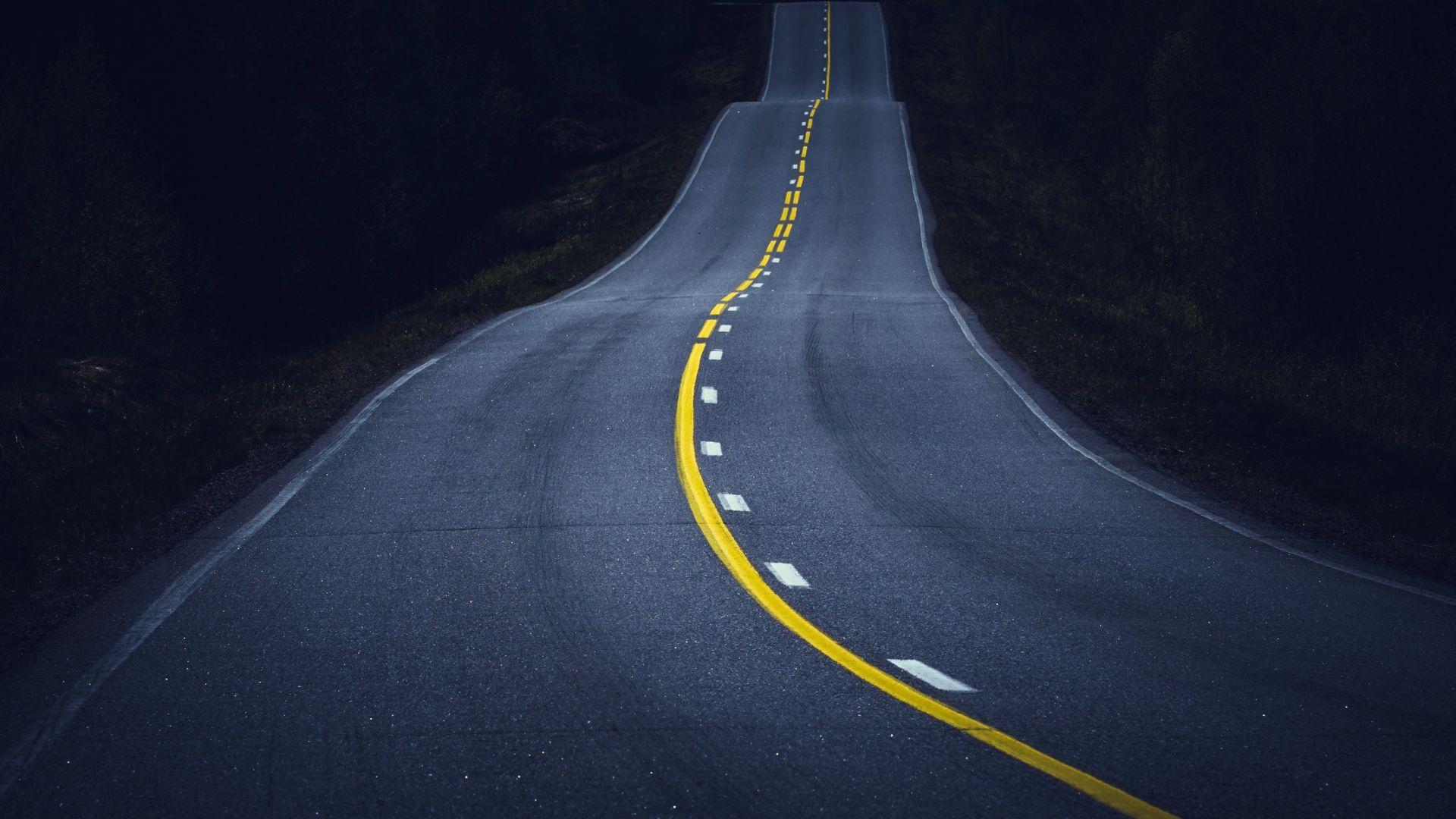 Wallpaper Midnight, road, highway