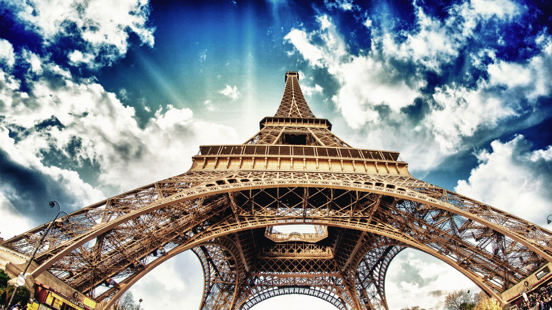 Wallpaper Eiffel Tower, architecture, clouds, Paris