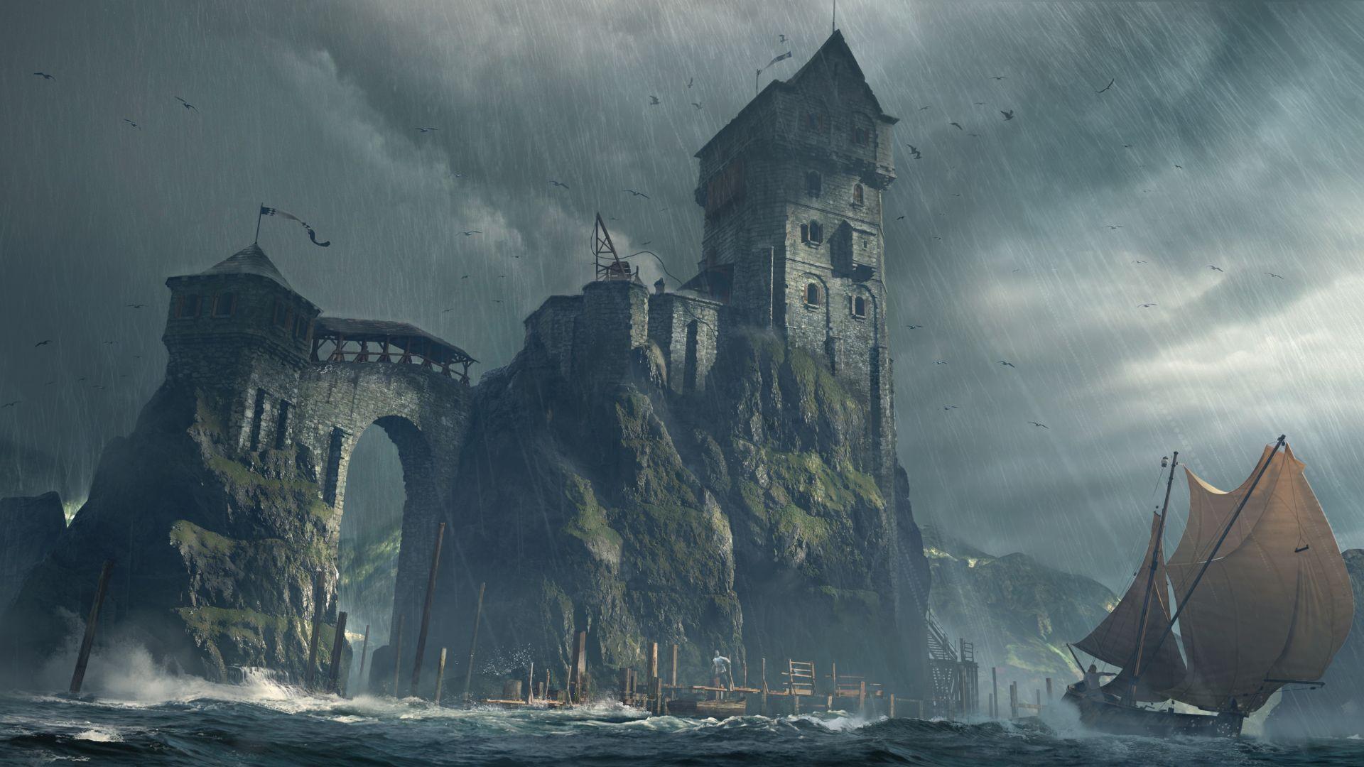 Fantasy Castle 4k Fortress Boat Art Wallpaper