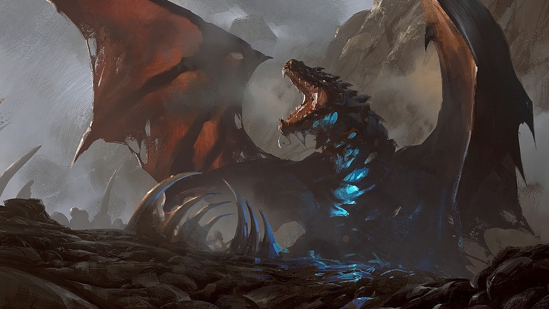 Desktop Wallpaper Dragon Fantasy Wings Dark Hd Image Picture