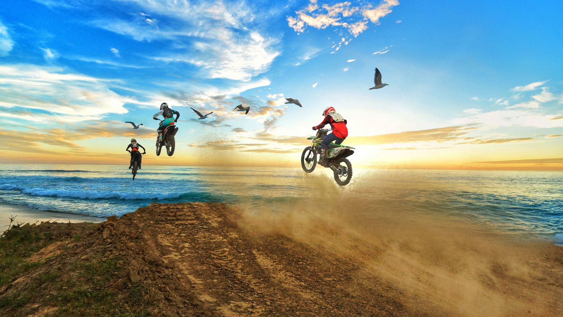 Wallpaper Sky, motocross, bikes, coast, rally, sea, sports