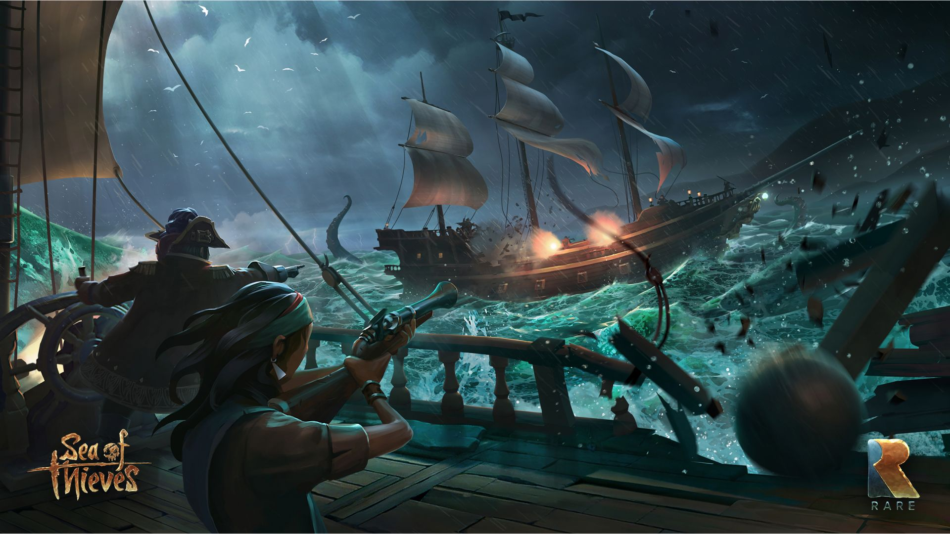 Wallpaper Sea of thieves, ship, fight, pirates