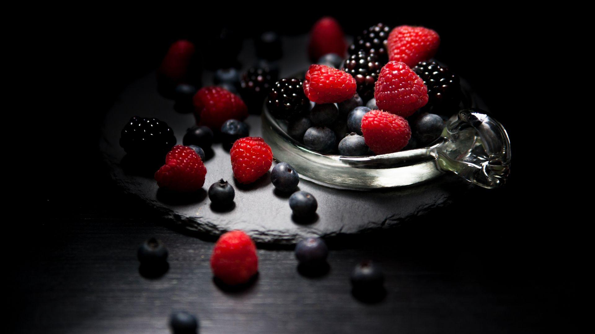 Wallpaper Dark mood, food, fruits, blueberry, raspberry, blackberry, 4k