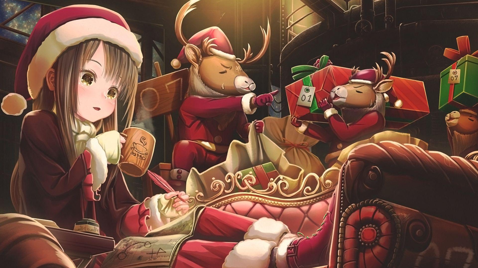 Wallpaper Christmas, anime, anime girl