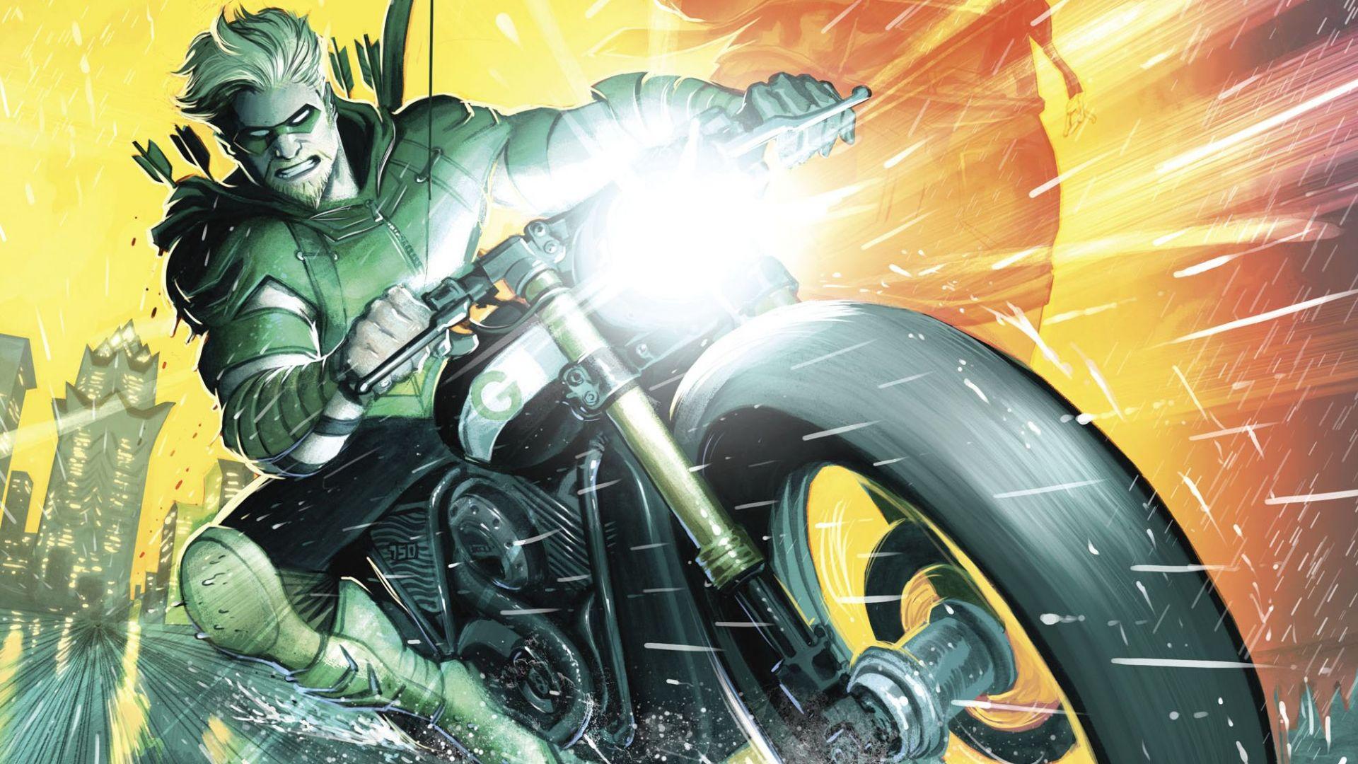 Desktop Wallpaper Green Arrow Riding Bike Dc Comics Hd