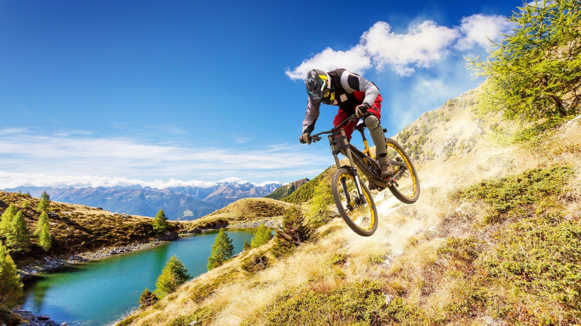 Wallpaper Bike riding, sports, landscape, mountains