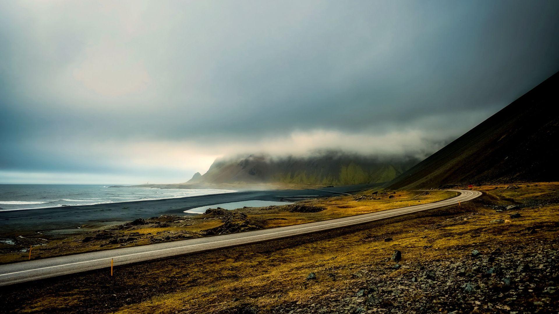 Wallpaper Iceland sky, clouds, sunrise, morning, road, landscape