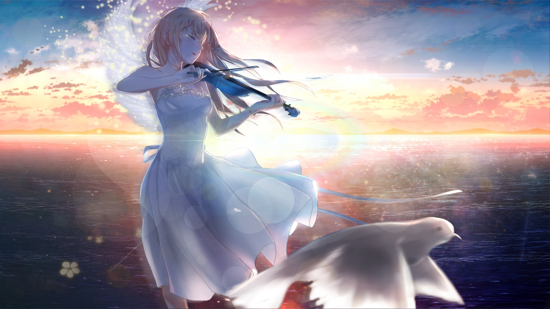 Desktop Wallpaper Kaori Miyazono, Anime Girl, Playing ...
