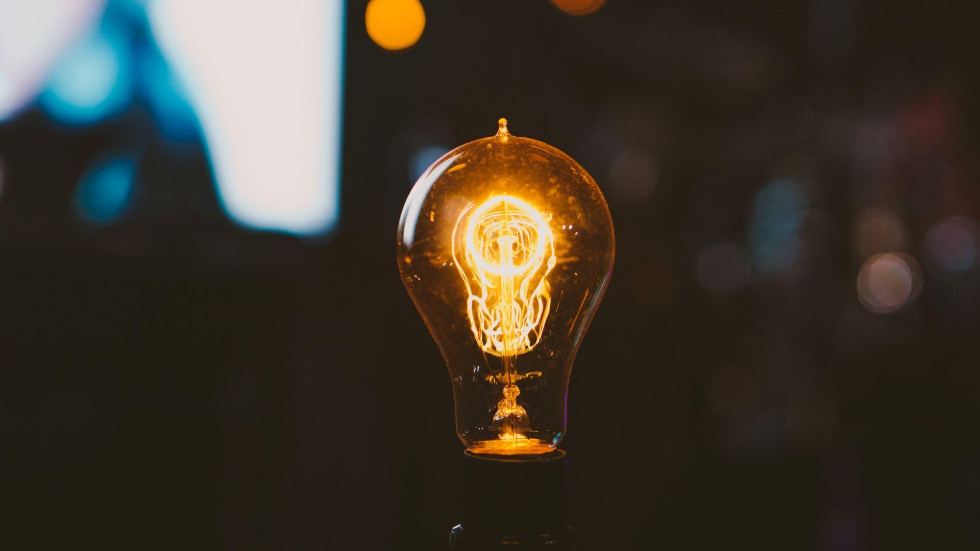 Wallpaper Light bulb, night, bokeh, lights