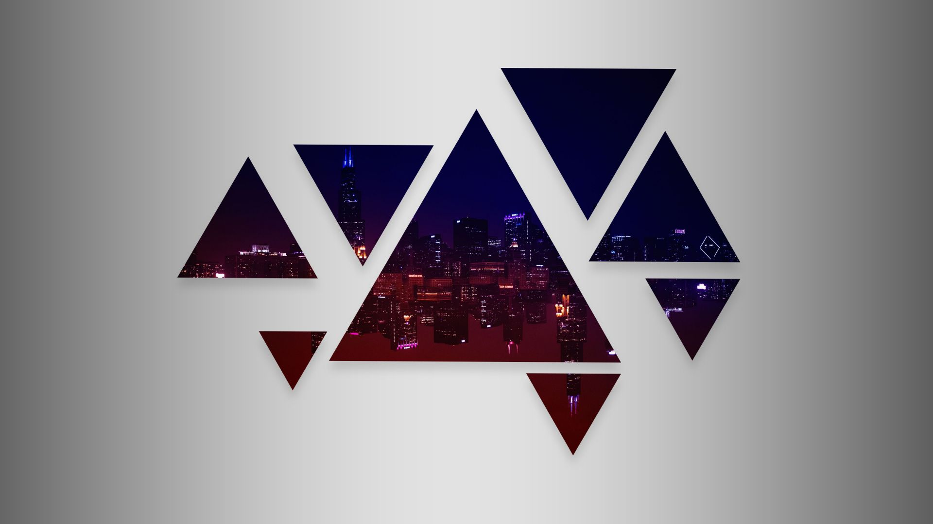Wallpaper Chicago city in triangles abstract