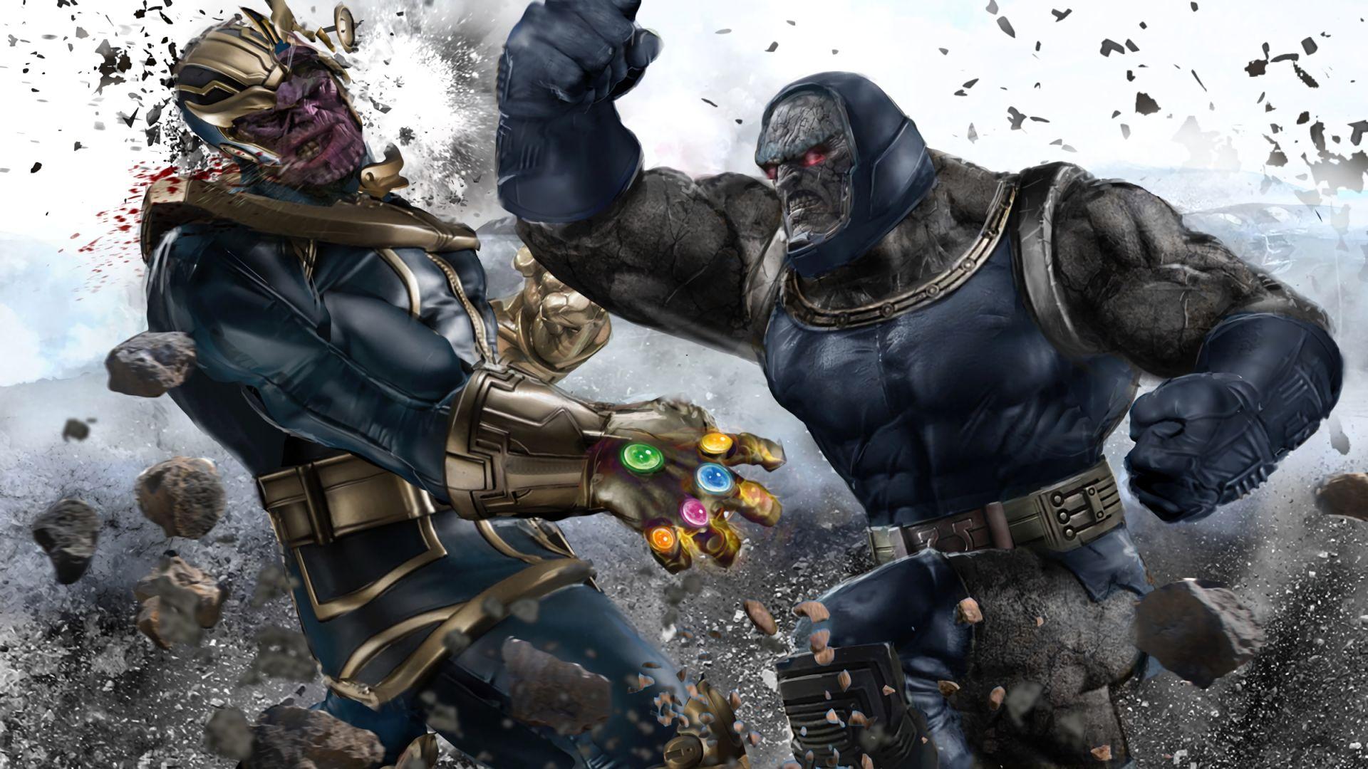 Desktop Wallpaper Darkseid And Thanos Fight Hd Image