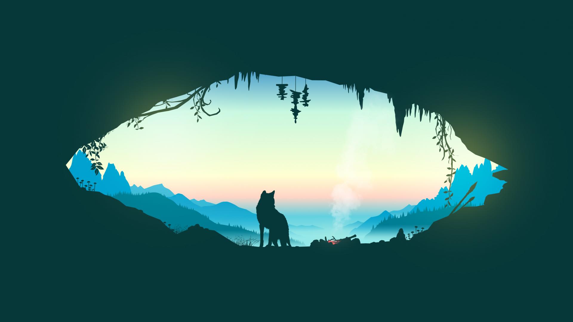Wallpaper Wolf, minimal, artwork