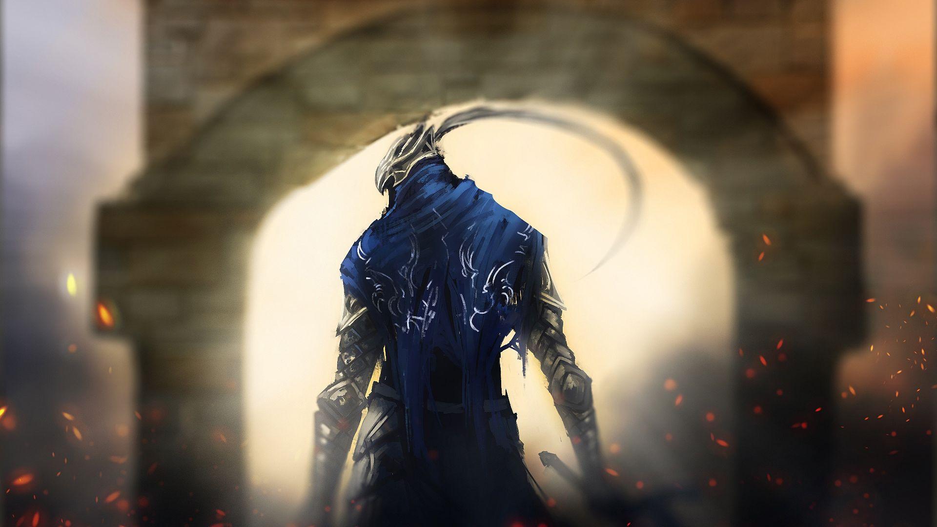 Wallpaper Dark souls video game, warrior art