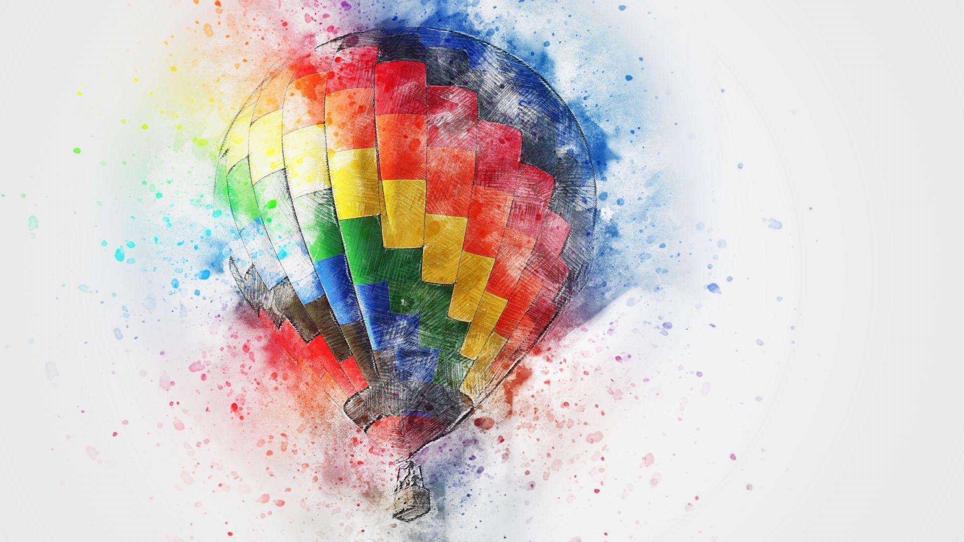 desktop wallpaper hot air balloon colorful art hd image