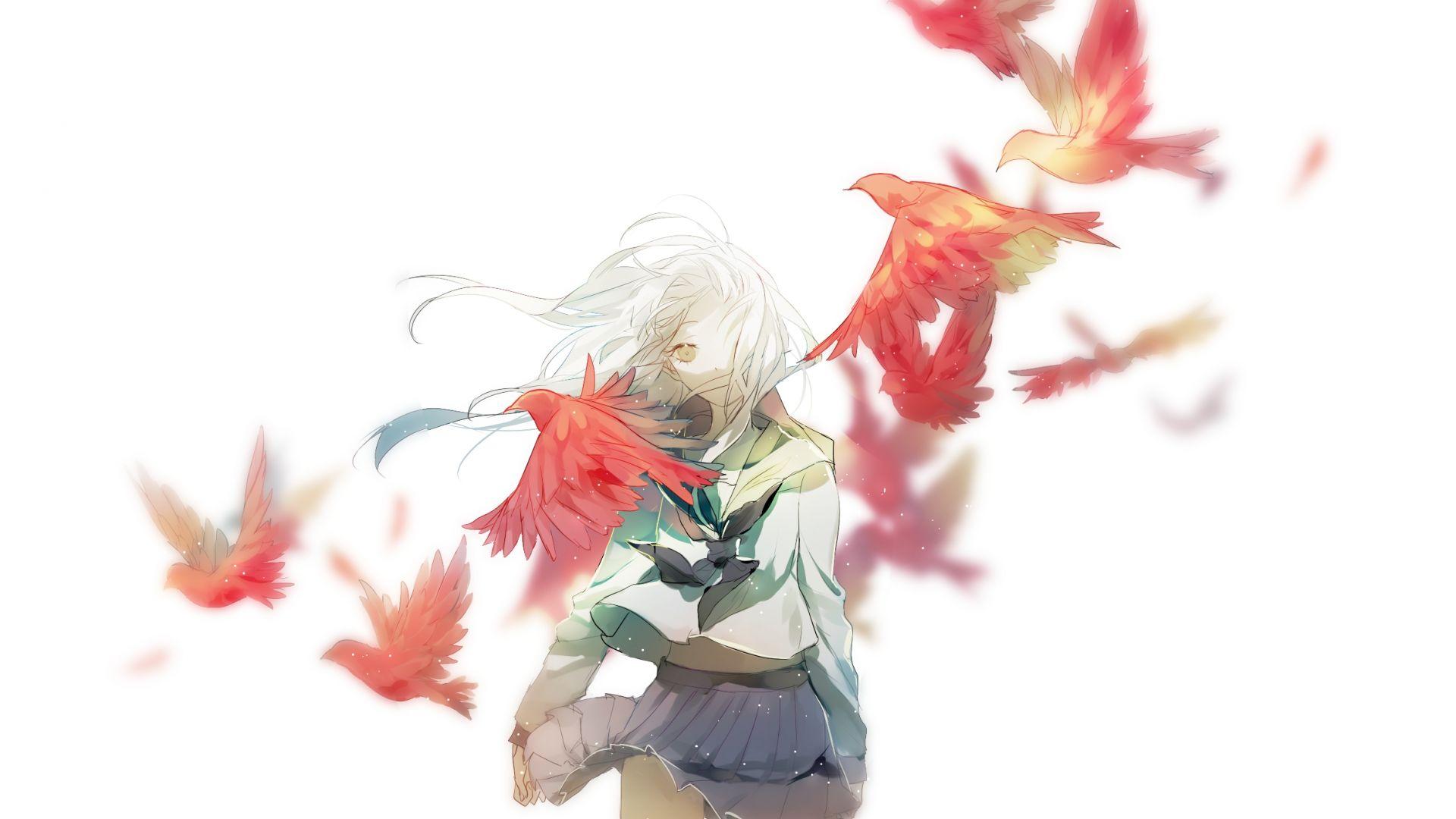 Wallpaper Long hair, birds, anime girl