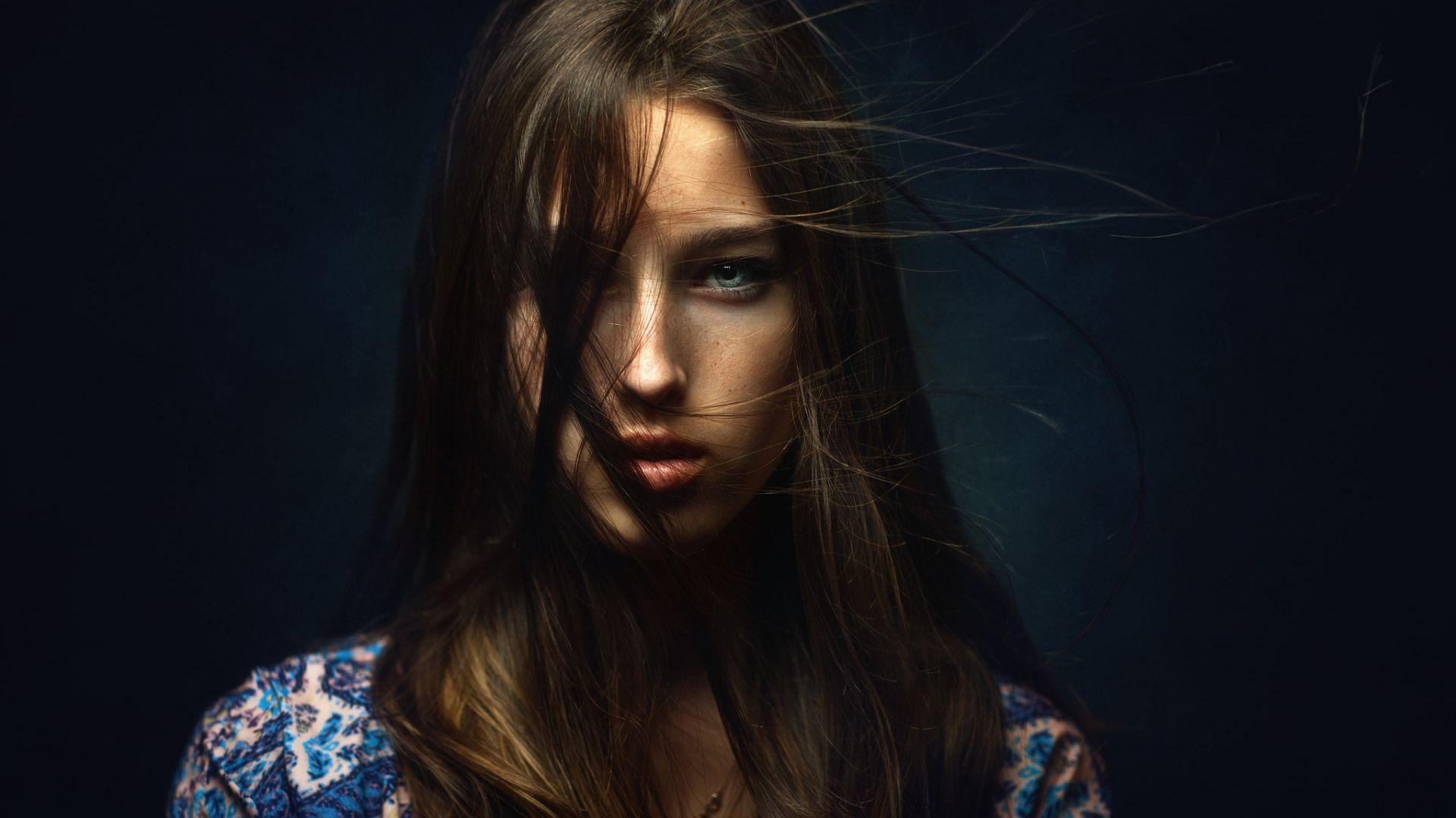 Wallpaper Brunette woman, hair on face