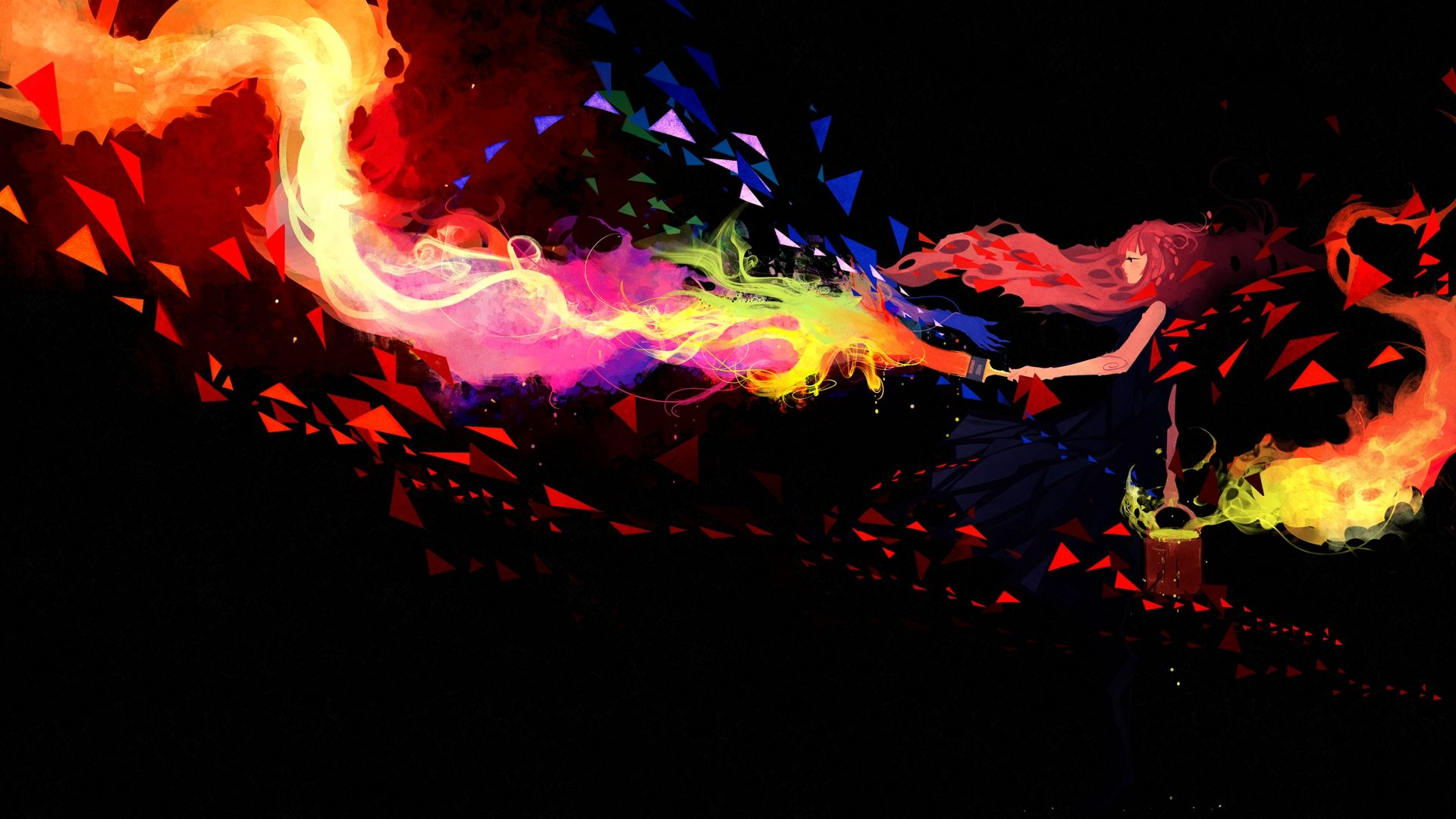 Wallpaper Girl, colorful panting, art