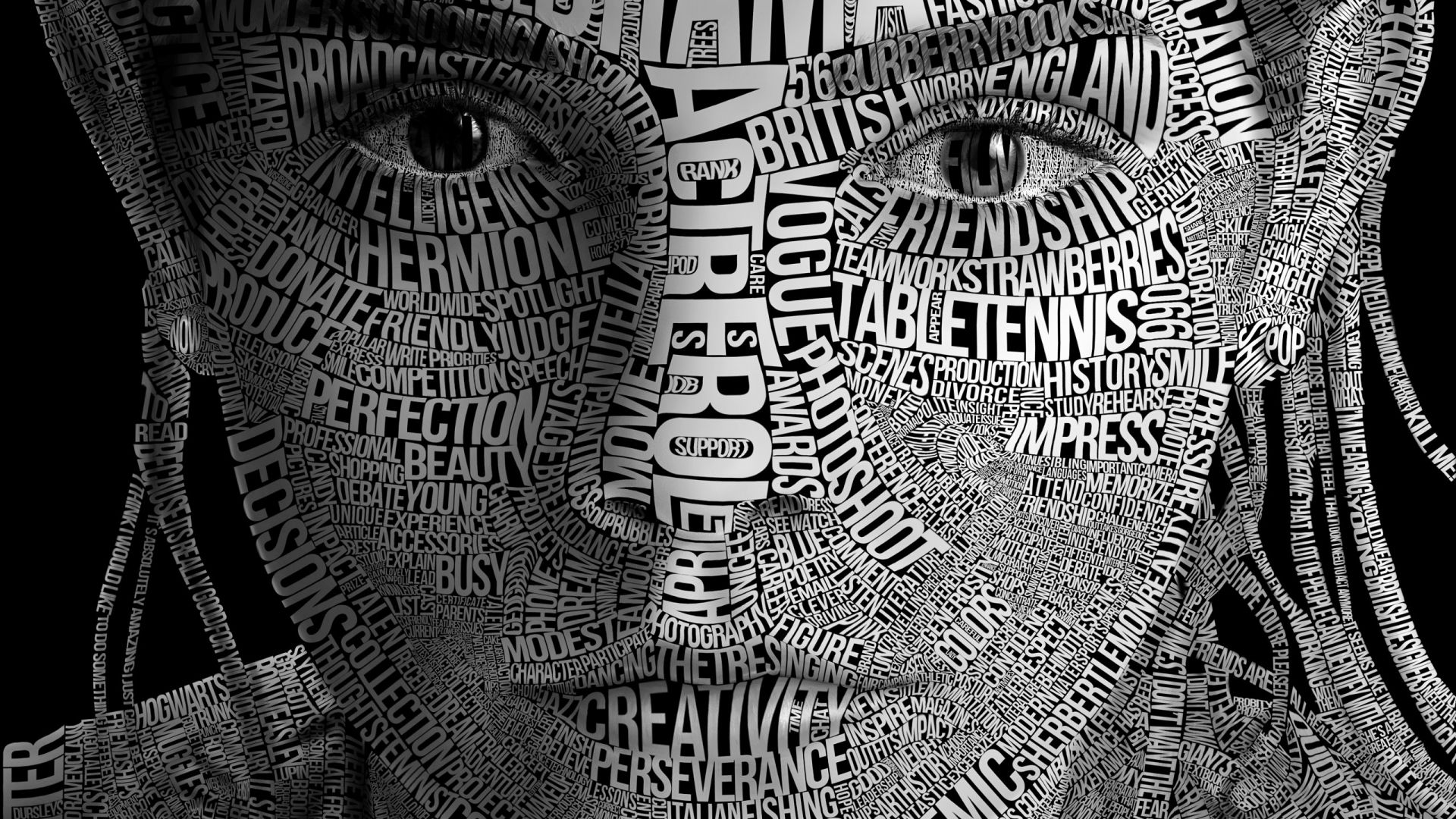 Wallpaper Emma watson face typography artwork