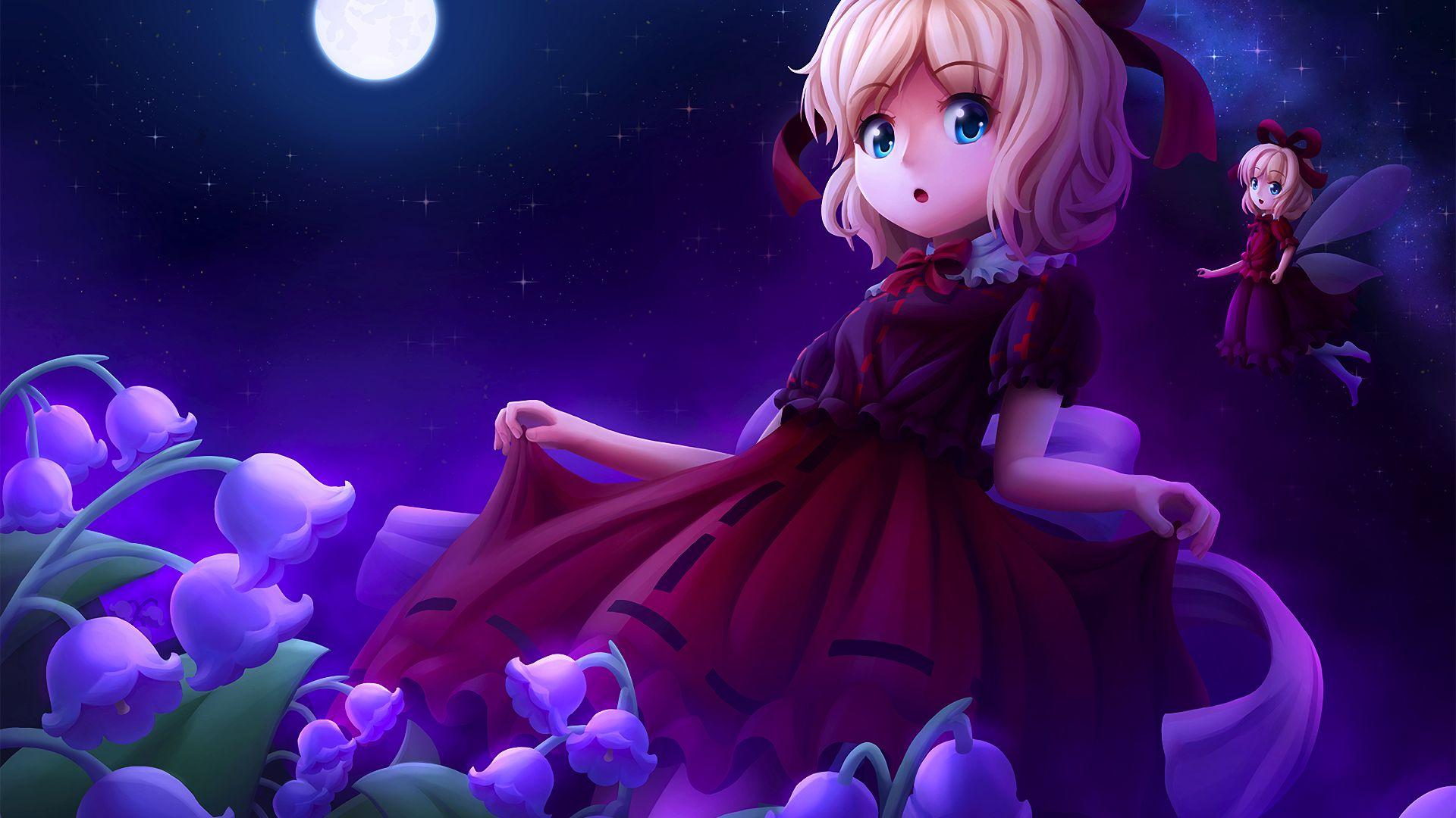 Wallpaper Cute anime girl, Medicine Melancholy, Touhou, night