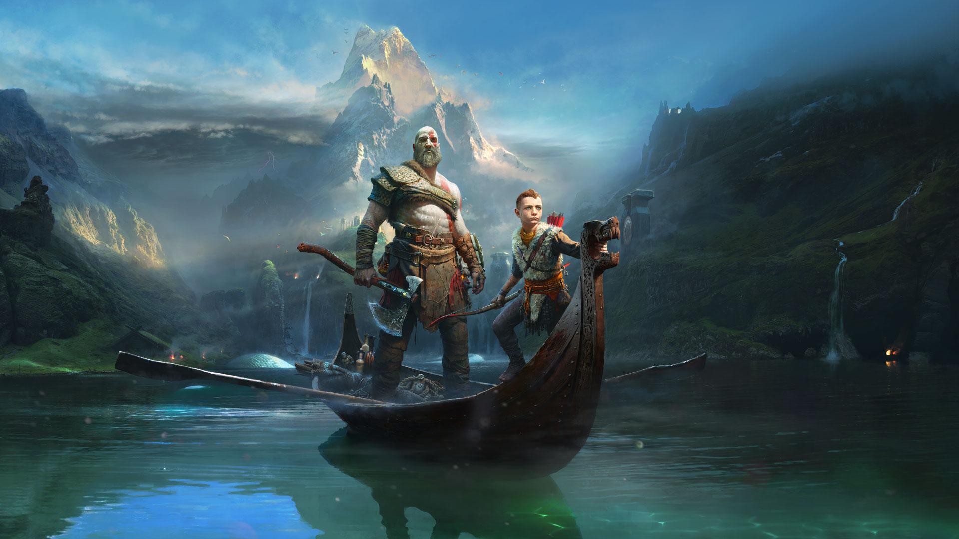 Wallpaper Kratos, God of war, boat, river, game