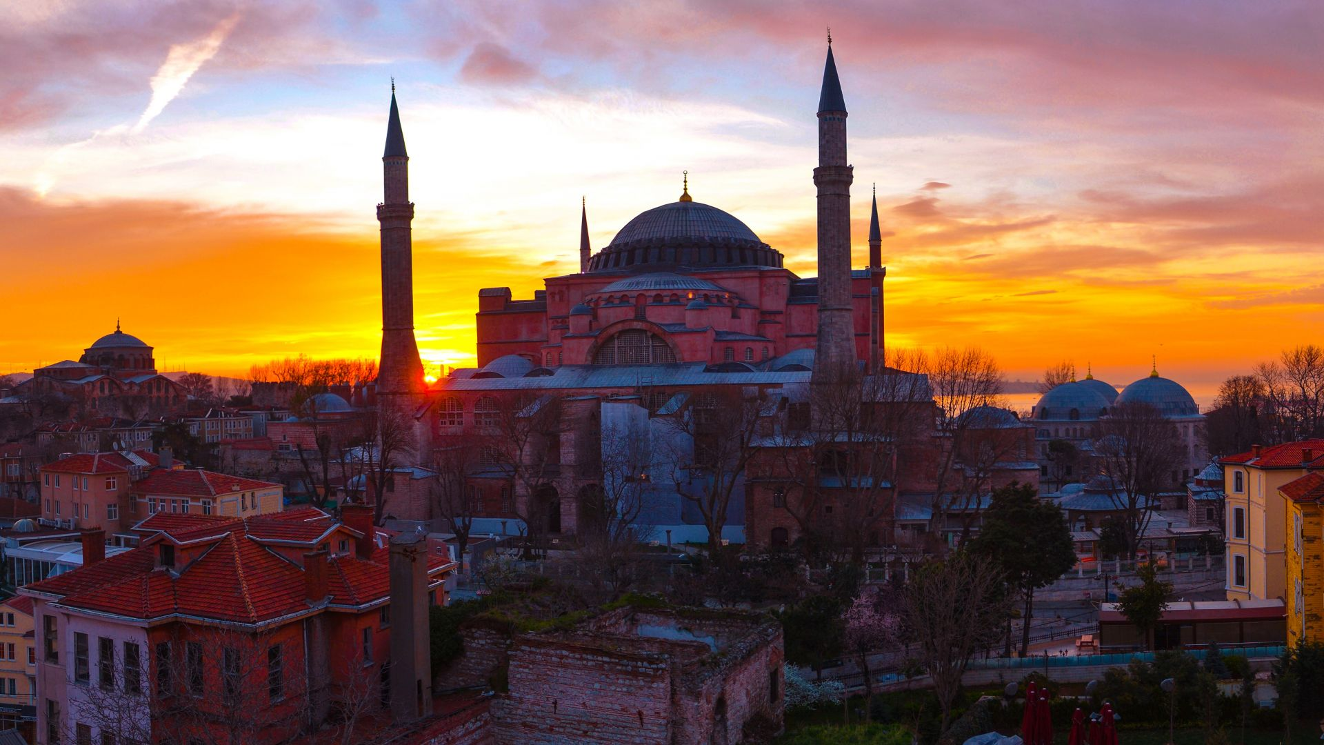 Wallpaper Istanbul, city, sunset, mosque, architecture