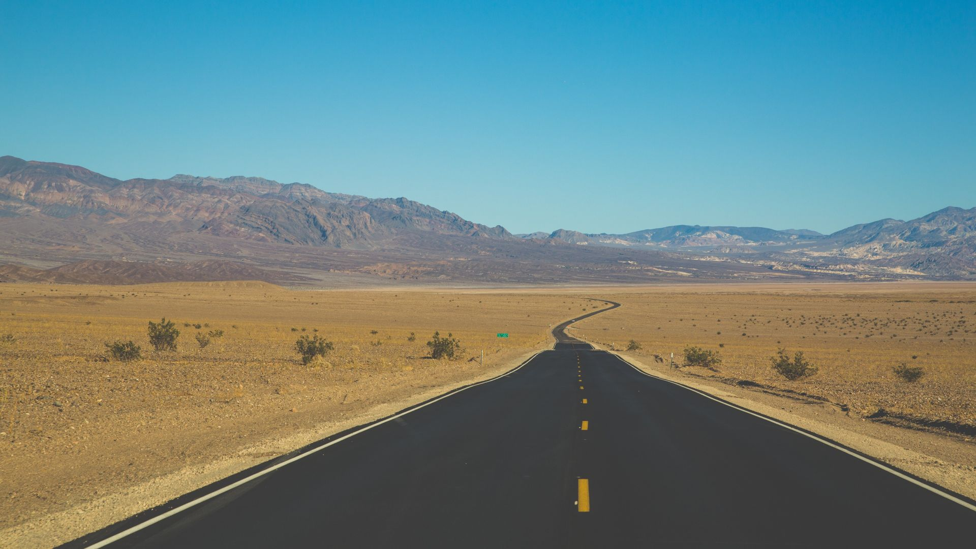Wallpaper Landscape, road to mountains