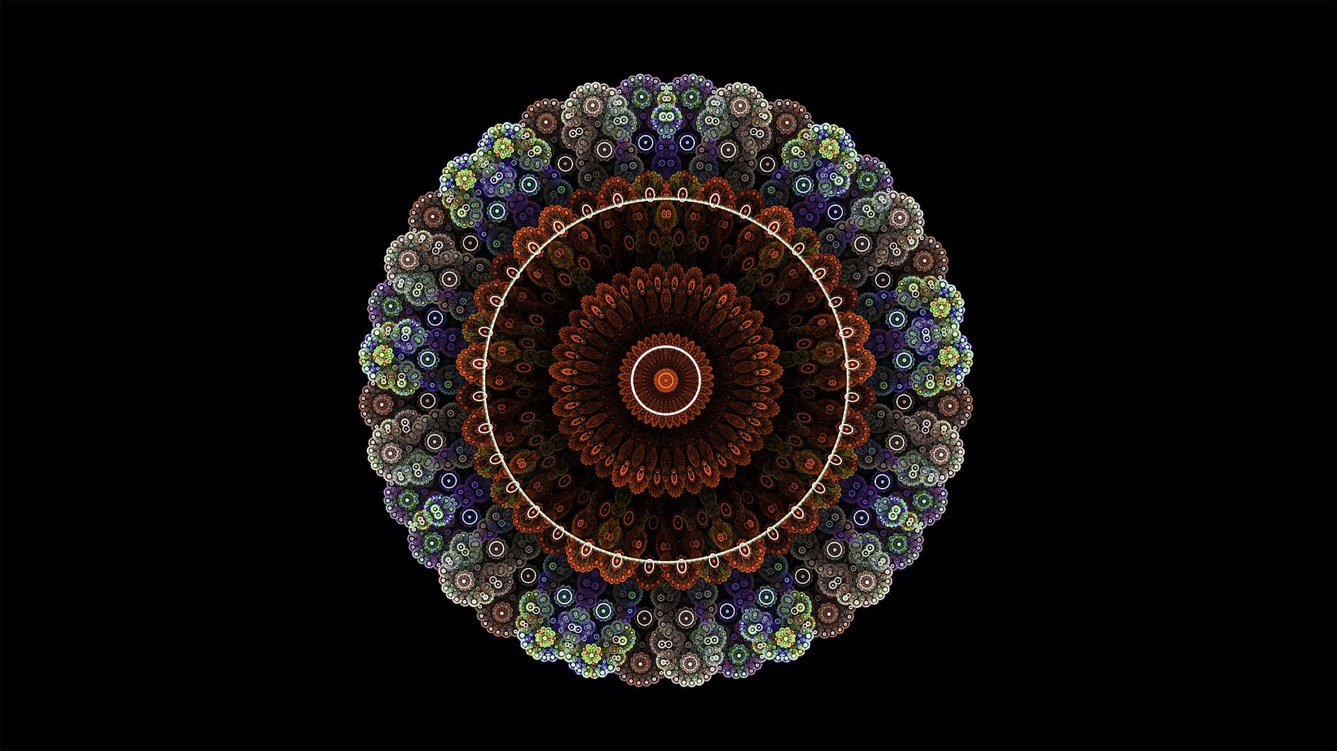 Wallpaper Fractal, mandala, circles, colorful