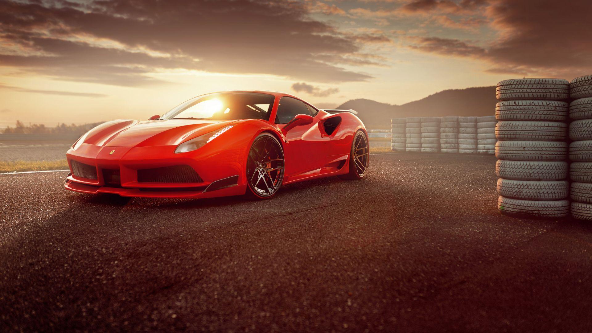 Wallpaper Ferrari 488 GTB, red sports car