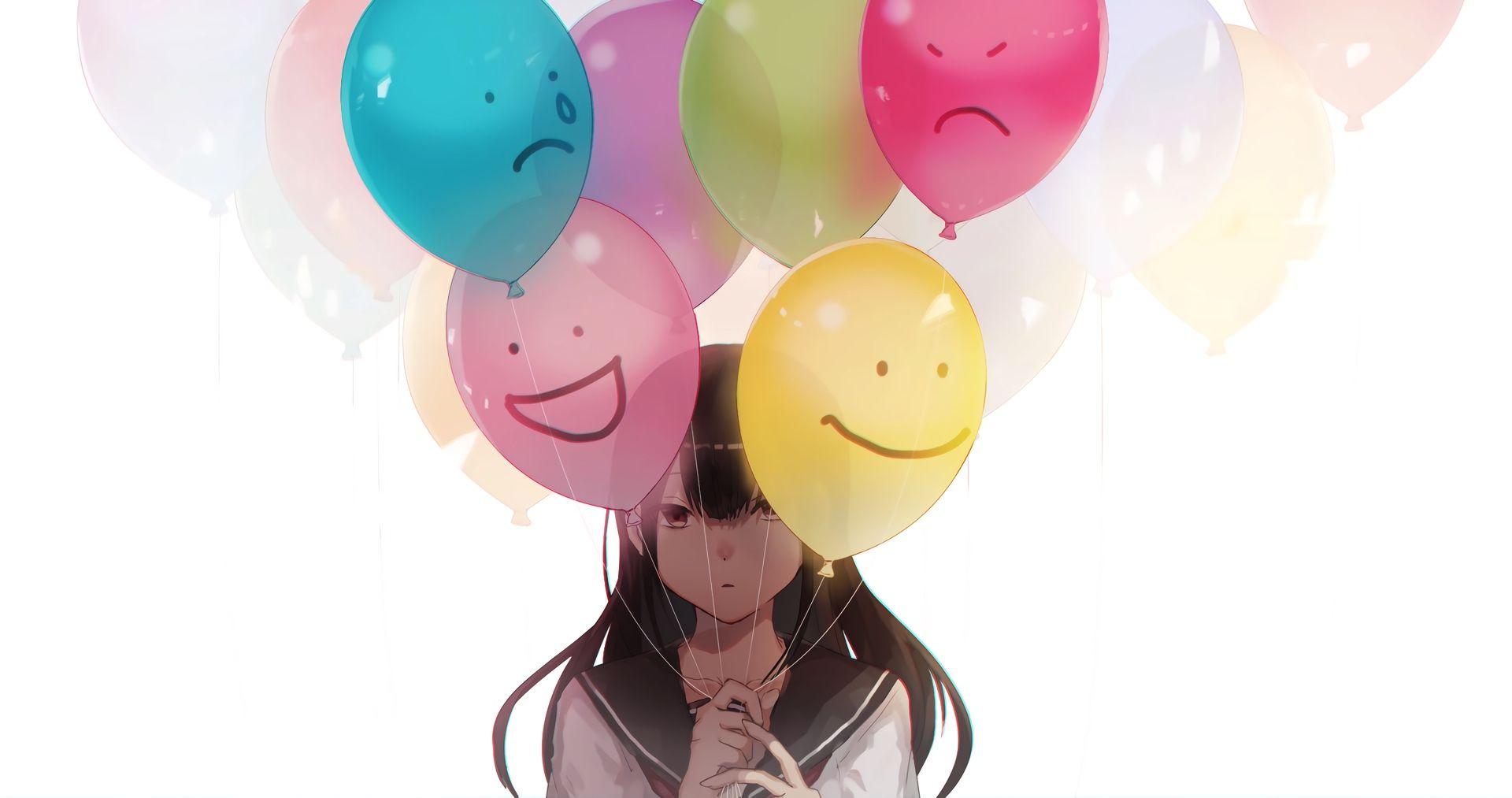 Desktop Wallpaper Sad Anime Girl Colorful Balloons Original Hd