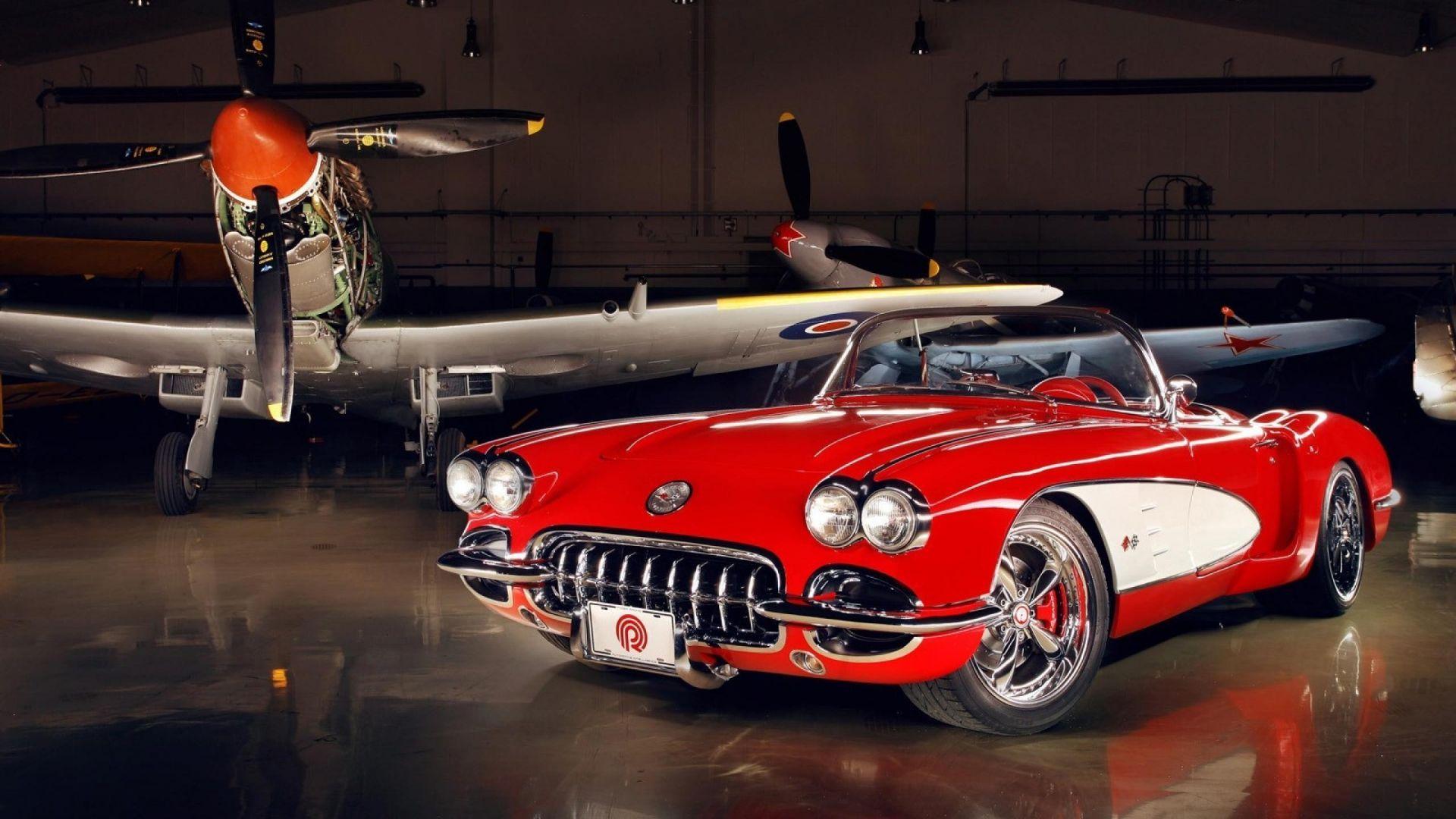 Wallpaper Chevrolet Corvette (C1), red classic car, airplane