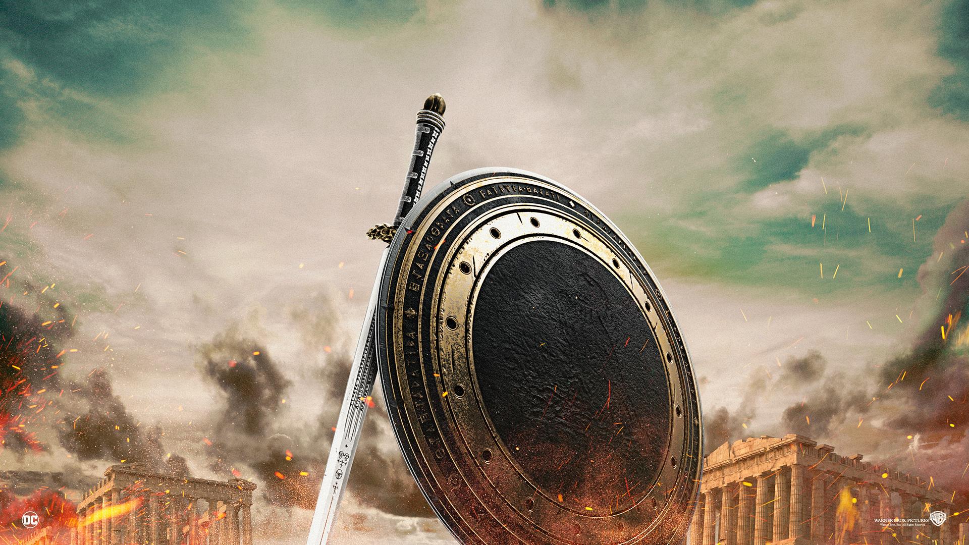Wallpaper Wonder Woman sword and shield artwork