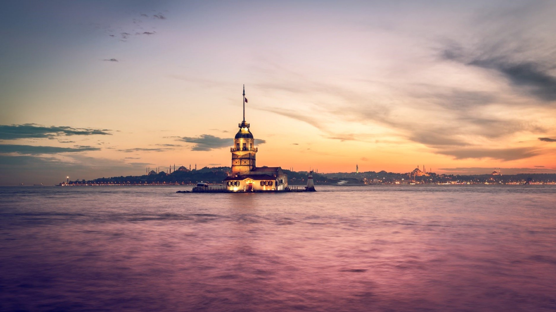 Wallpaper Maiden's Tower, Istanbul, sunset