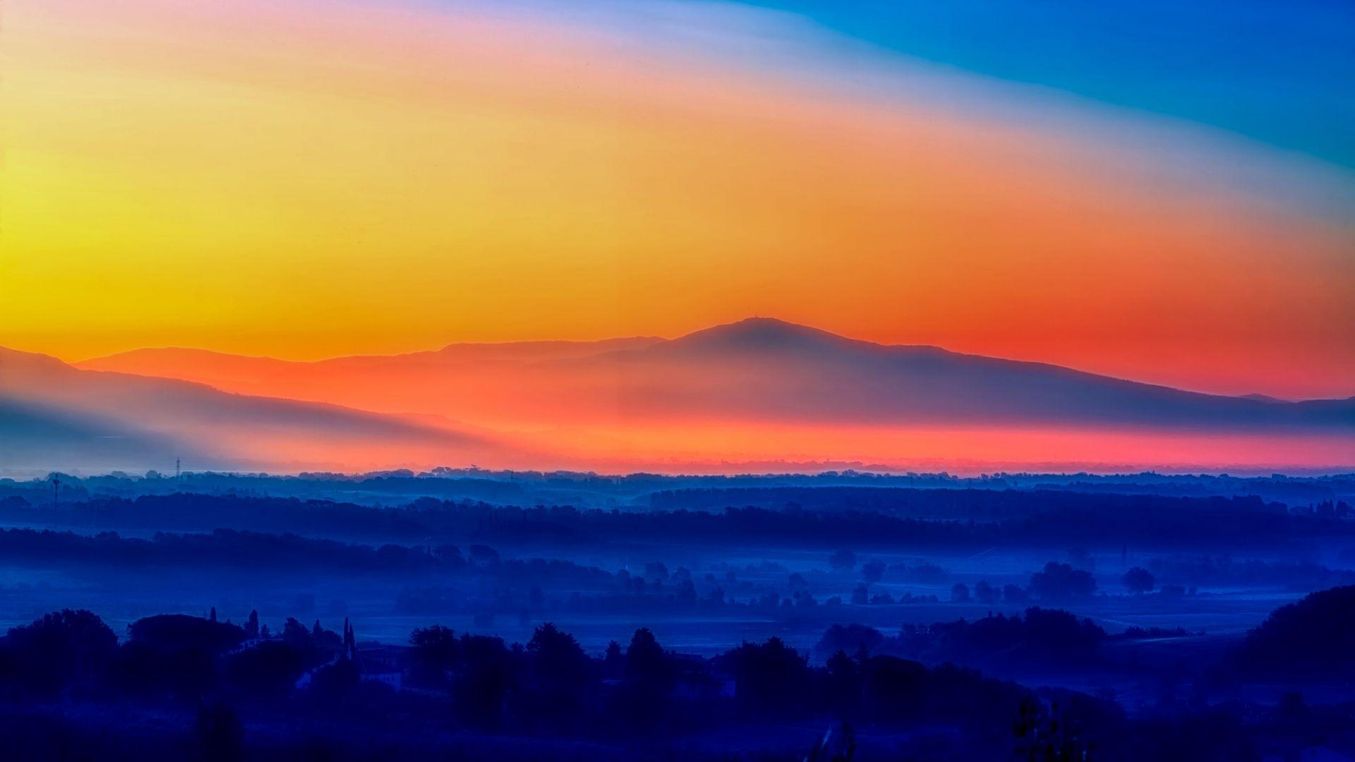 Wallpaper Italy sunrise, morning, horizon