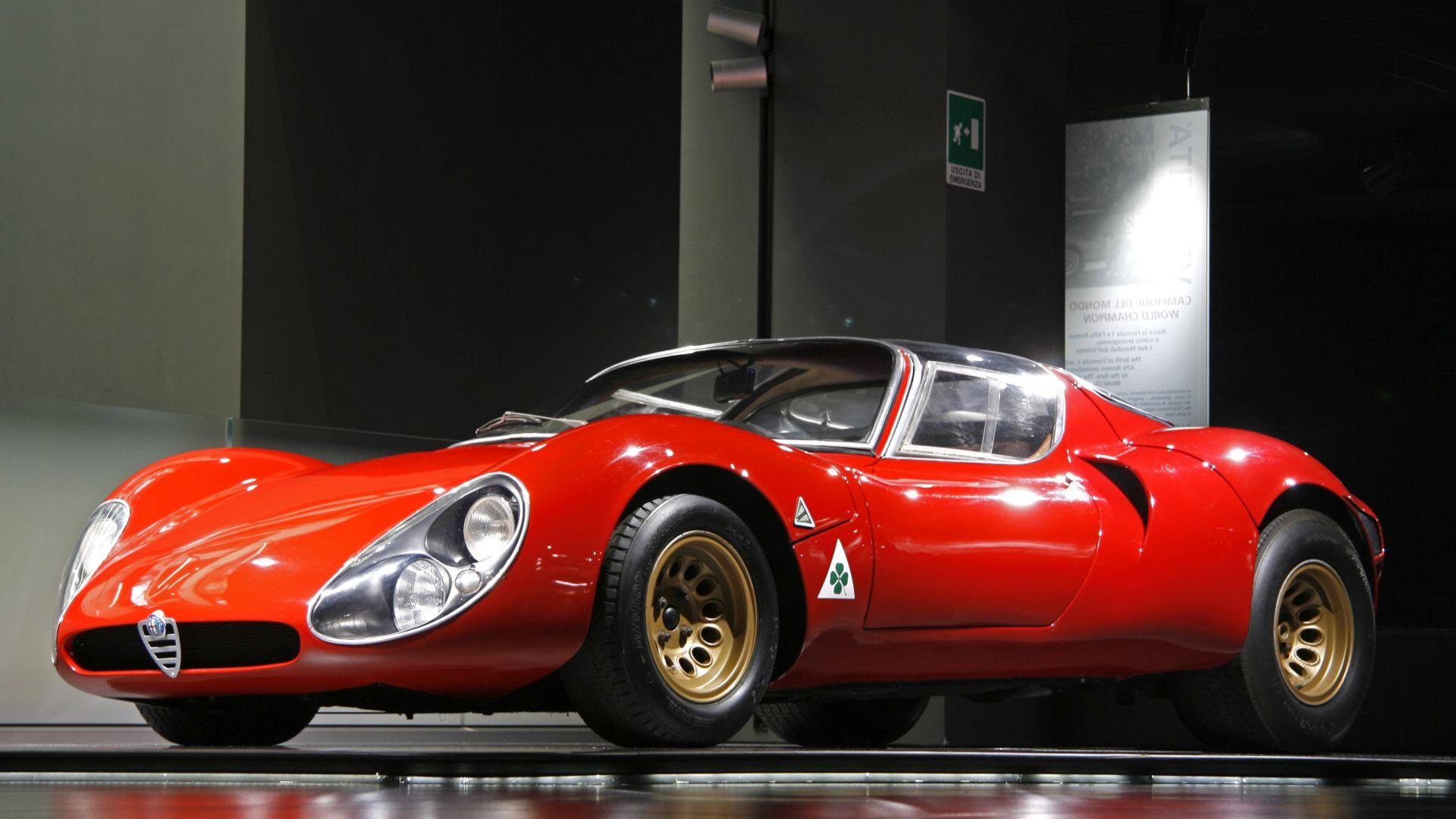 Wallpaper Alfa Romeo, red racing car, side view